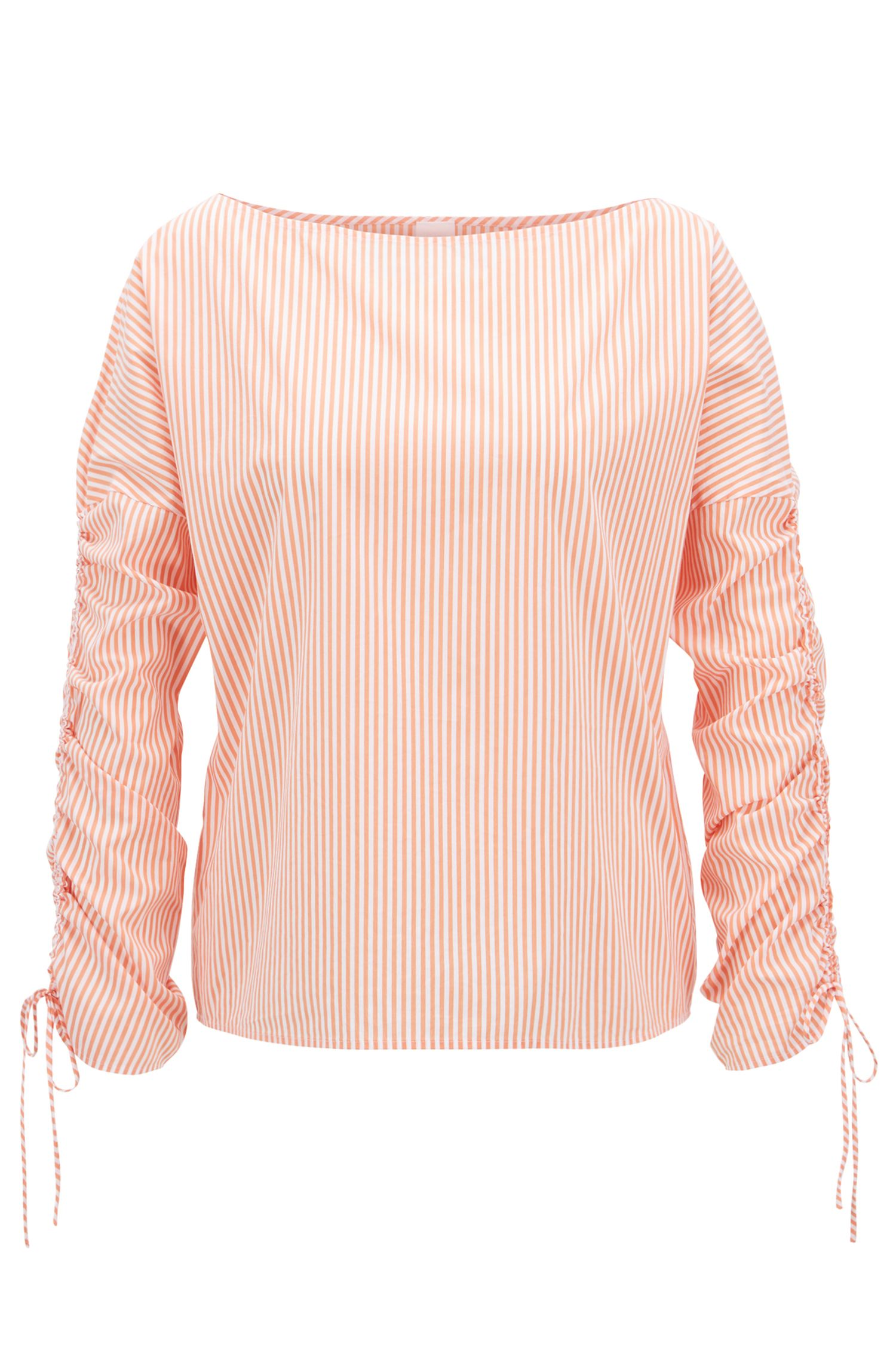 Striped boat-neck blouse with gathered sleeves