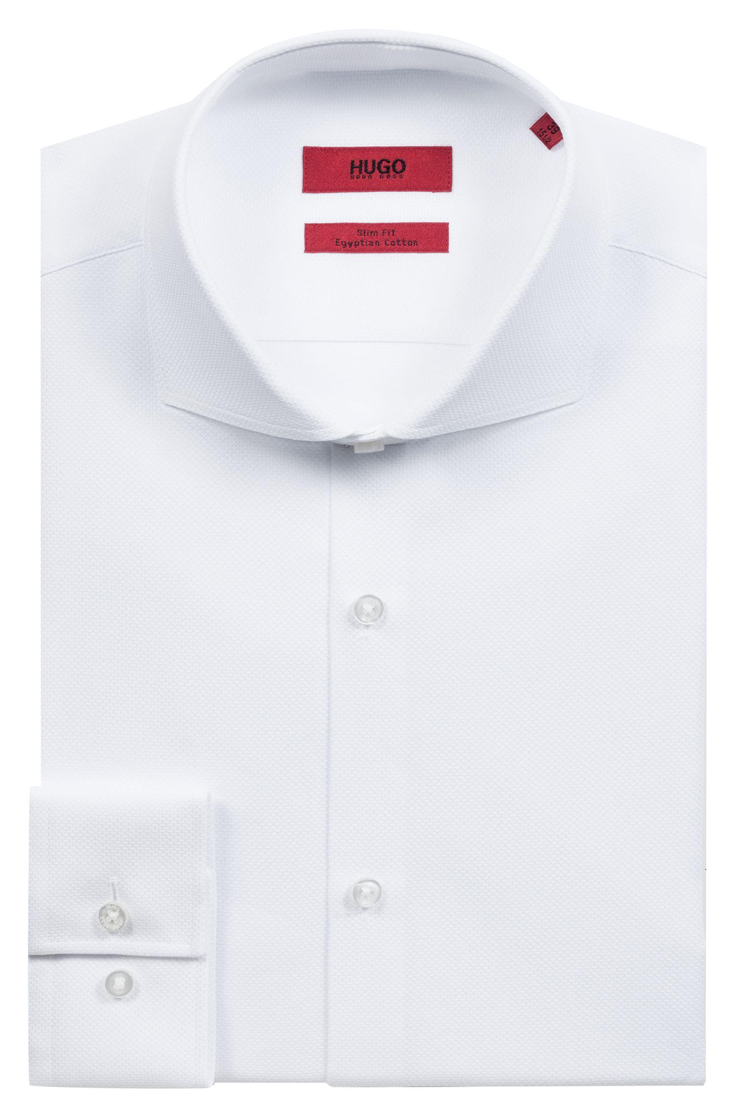 Slim-Fit Hemd aus Baumwolle mit Cutaway-Kragen, Weiß