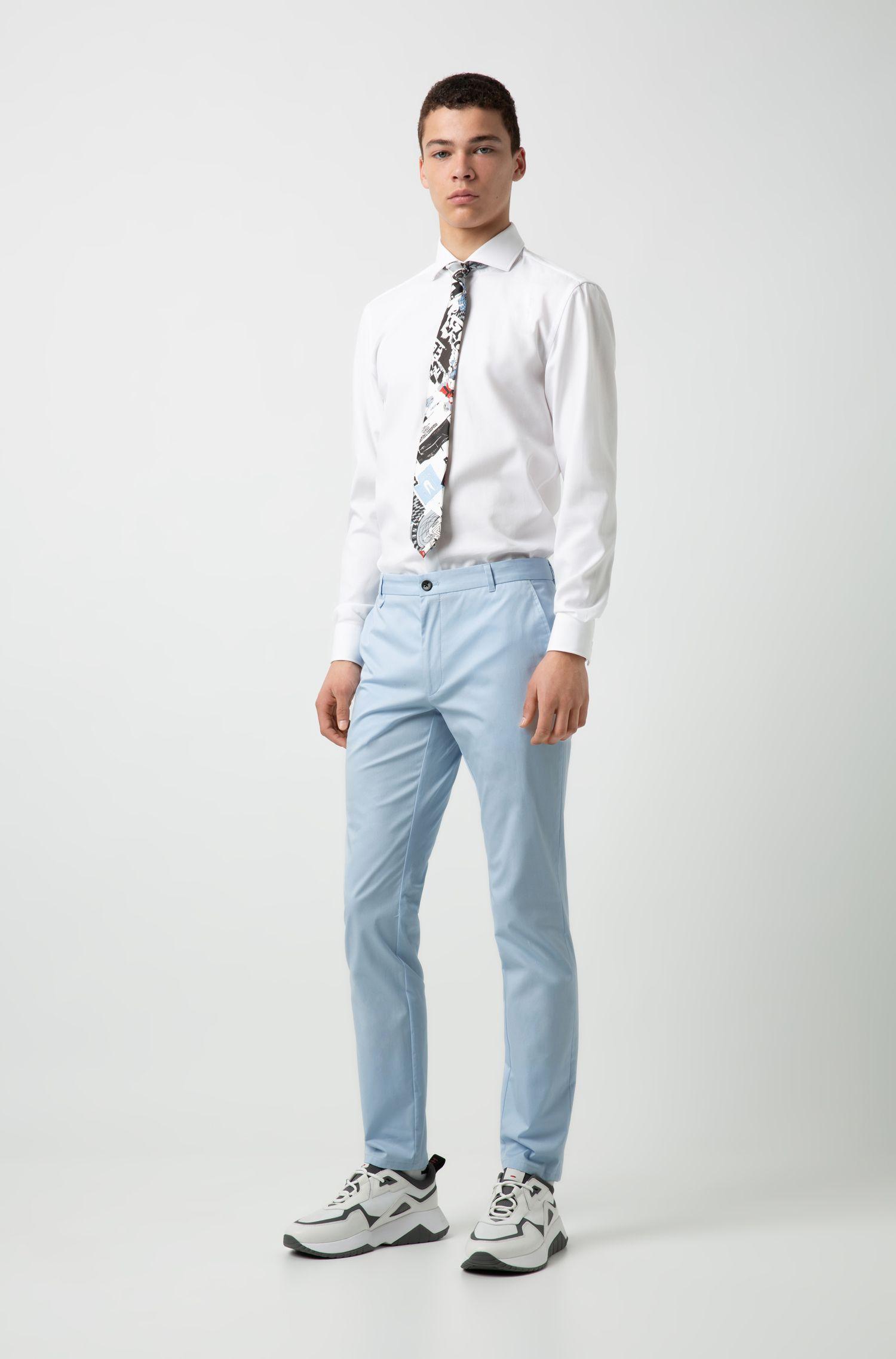 Slim-fit overhemd van katoen met gespreide kraag, Wit