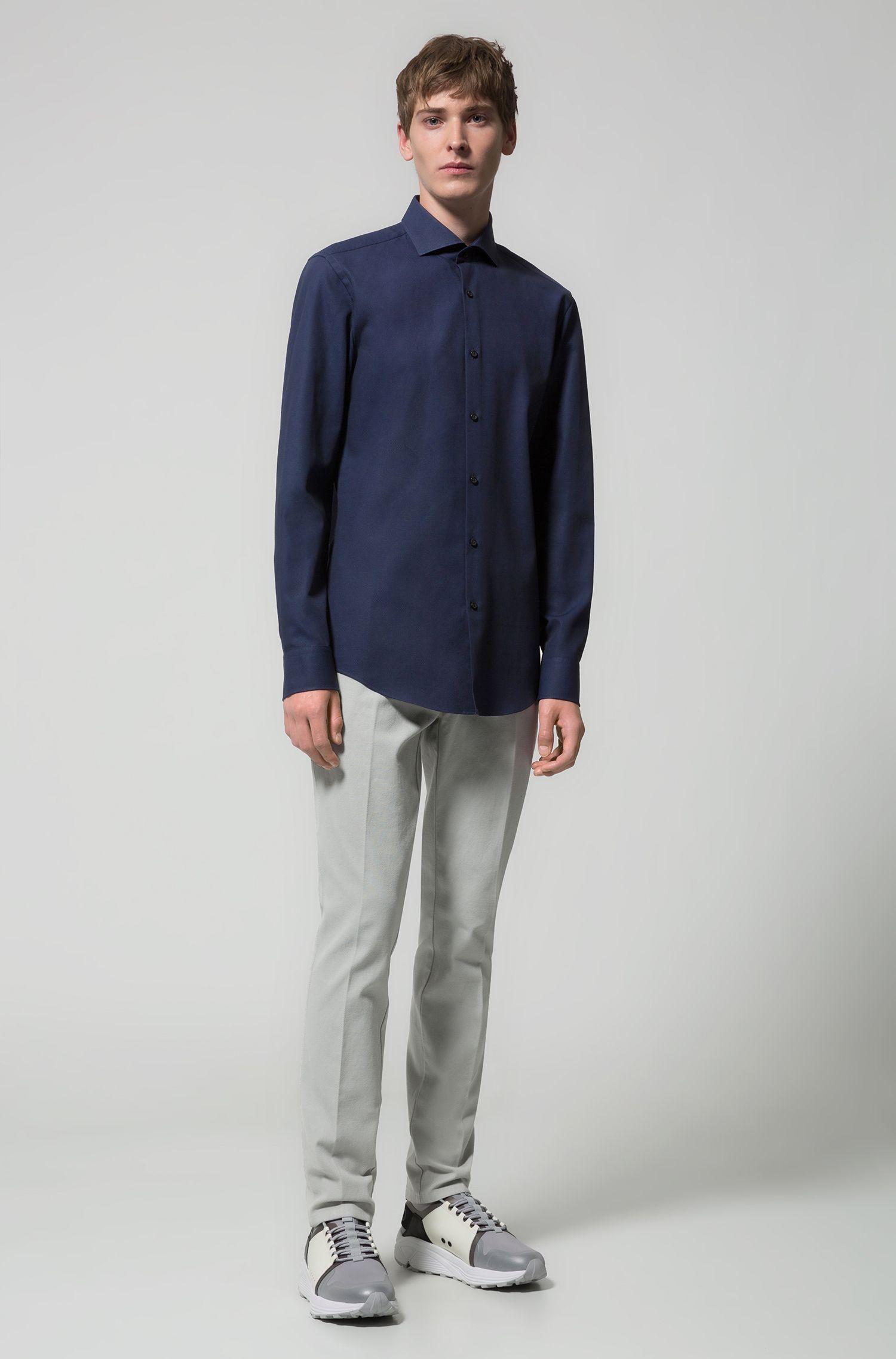 Camicia slim fit in cotone con colletto alla francese, Blu scuro
