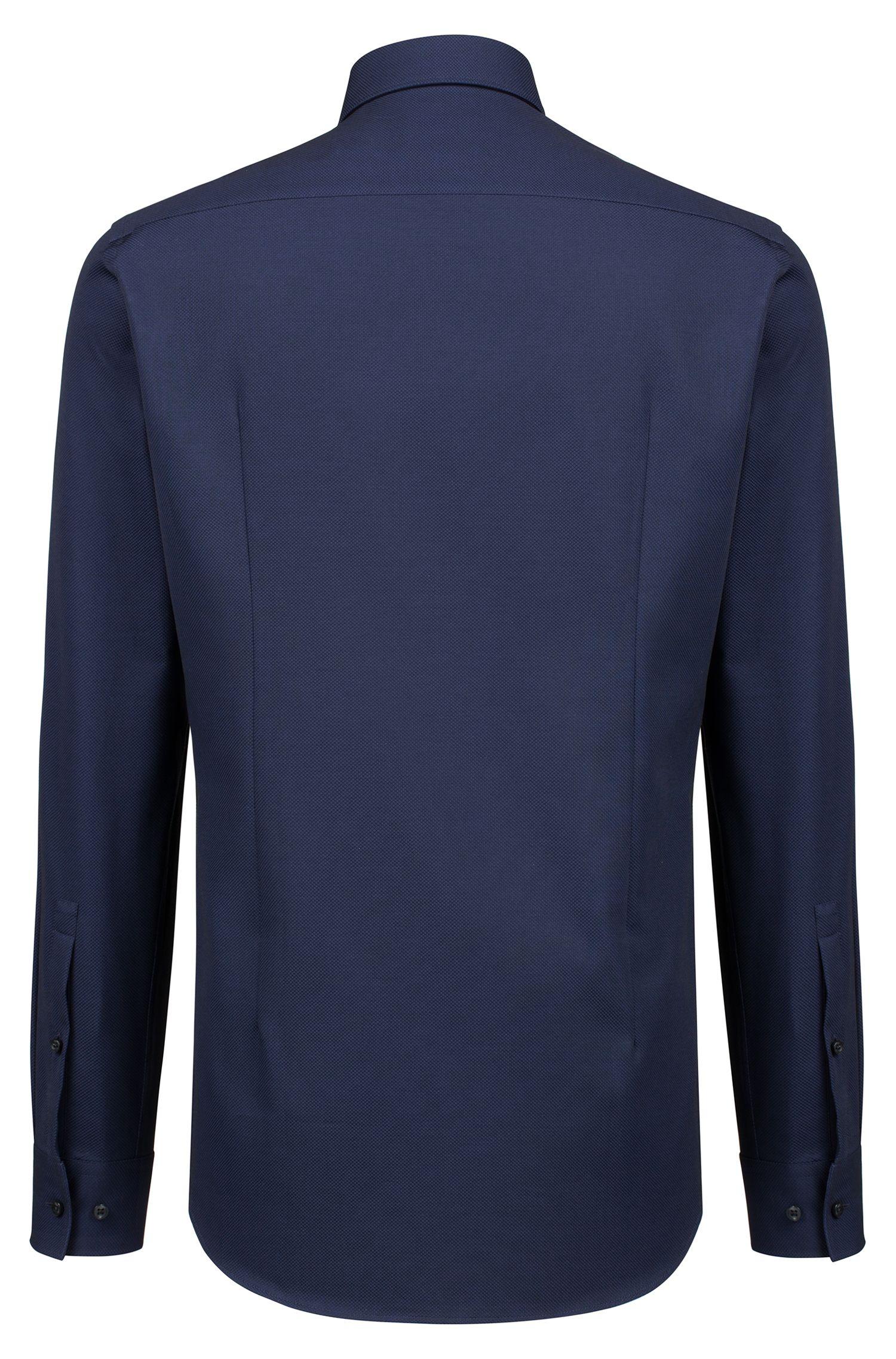Slim-fit overhemd van katoen met gespreide kraag, Donkerblauw