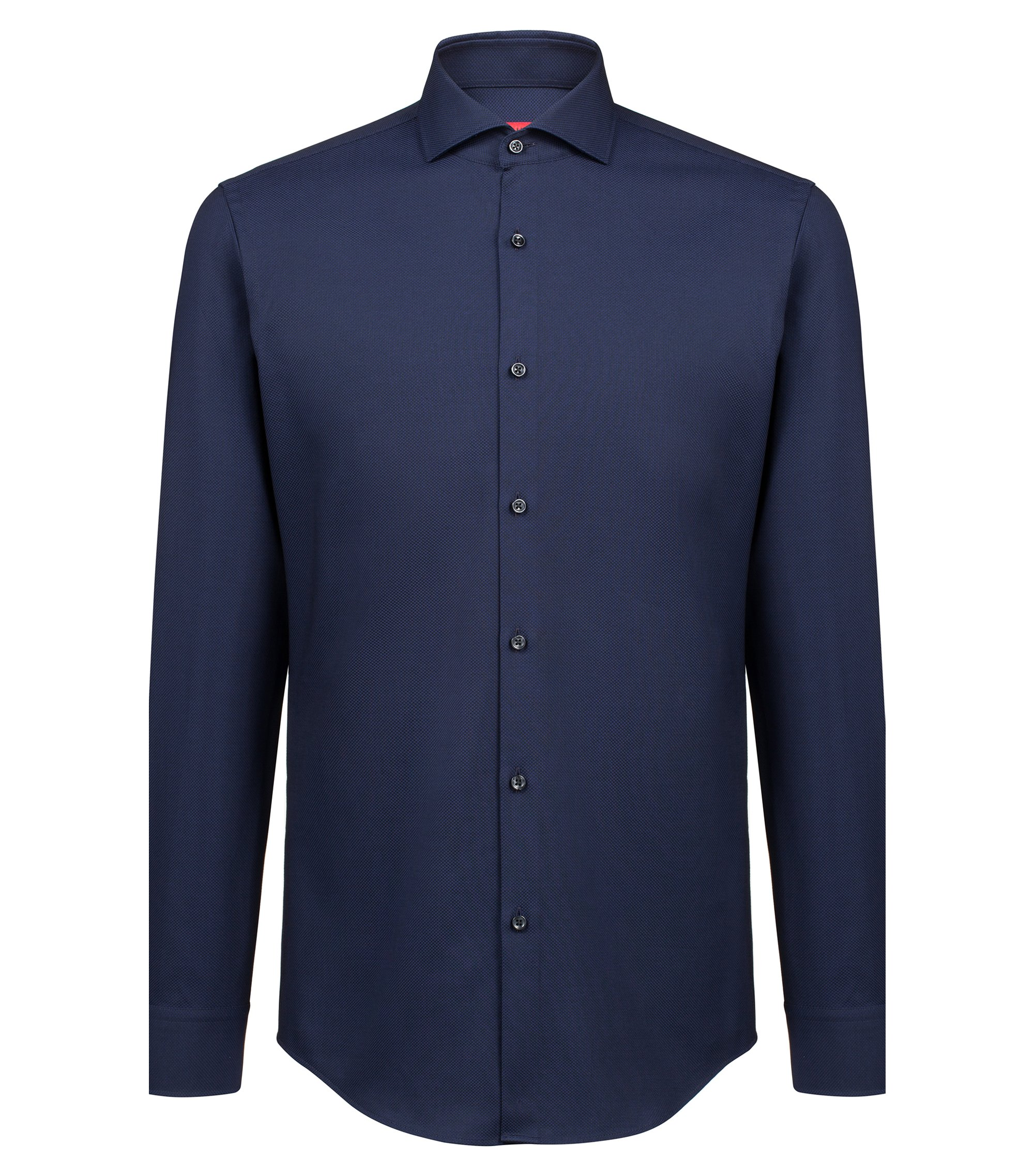 Camicia slim fit in cotone con colletto alla francese, Blu scuro