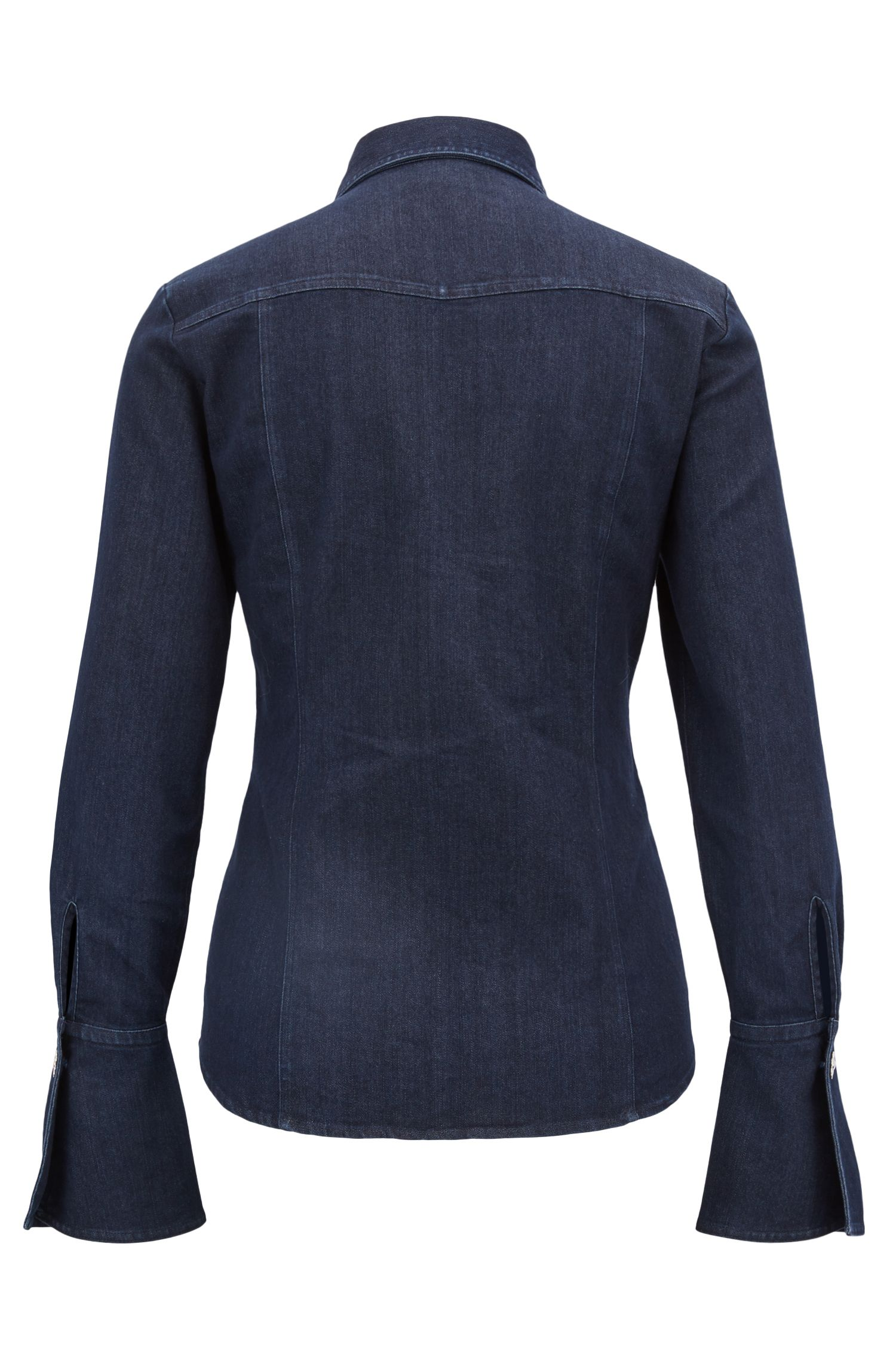 Slim-fit stretch-denim blouse with bell cuffs