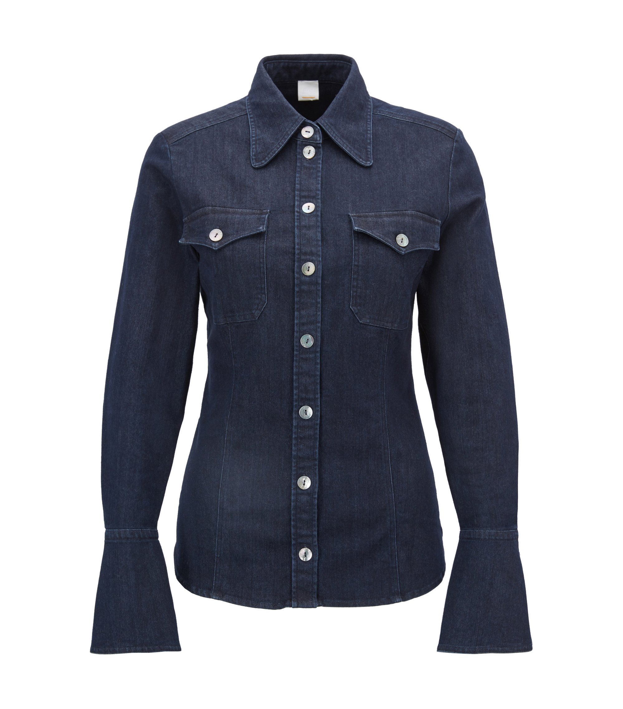 Slim-fit stretch-denim blouse with bell cuffs, Dark Blue