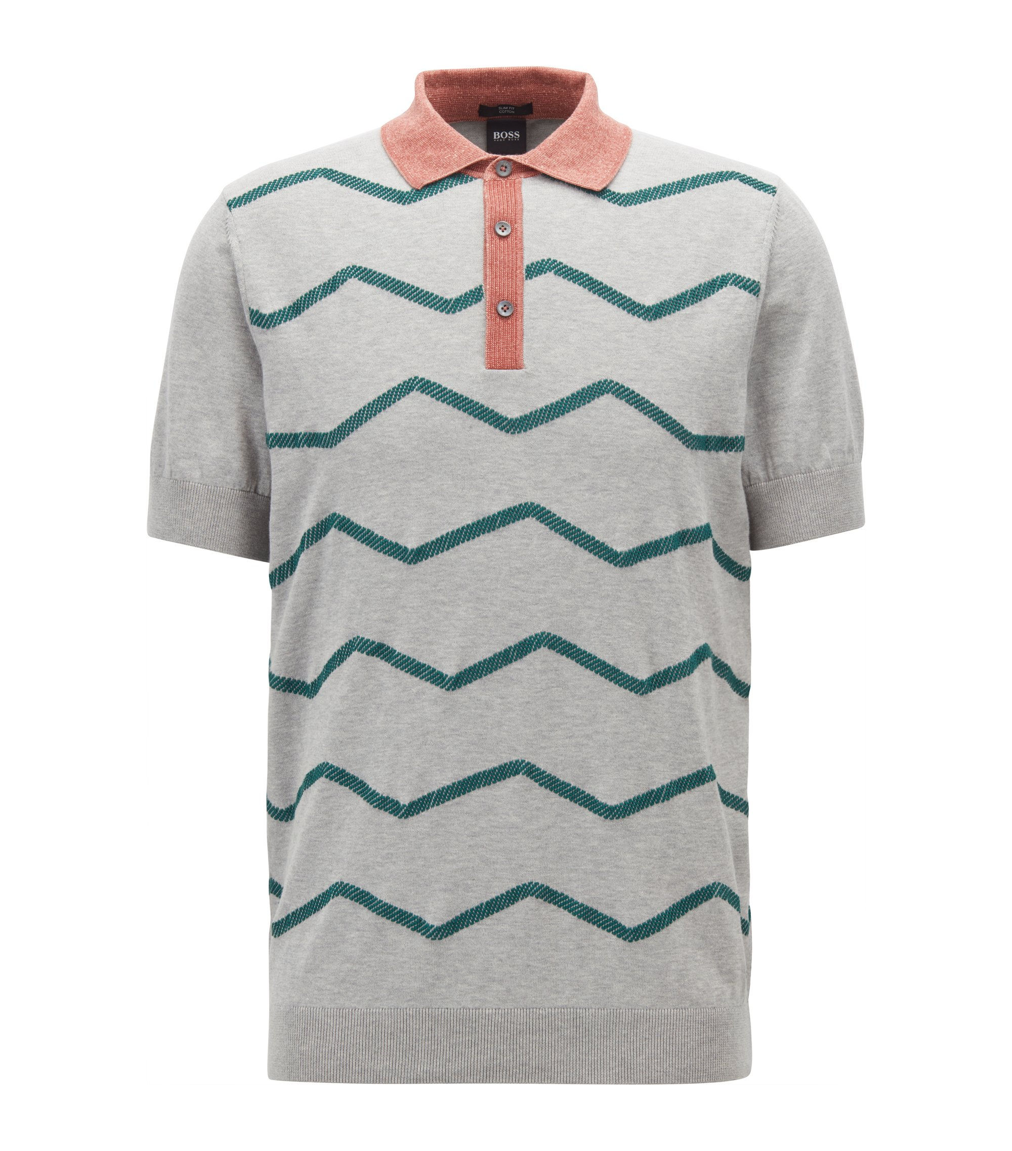 Slim-fit polo-style sweater with zigzag embroidery, Grey