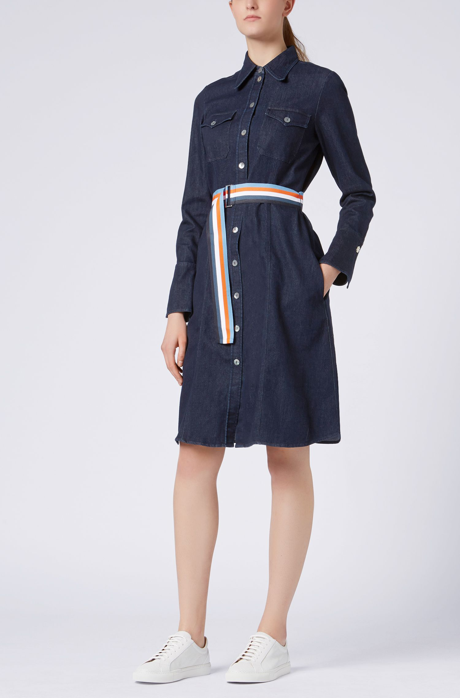 Stretch-denim dress with bell cuffs and ribbon belt