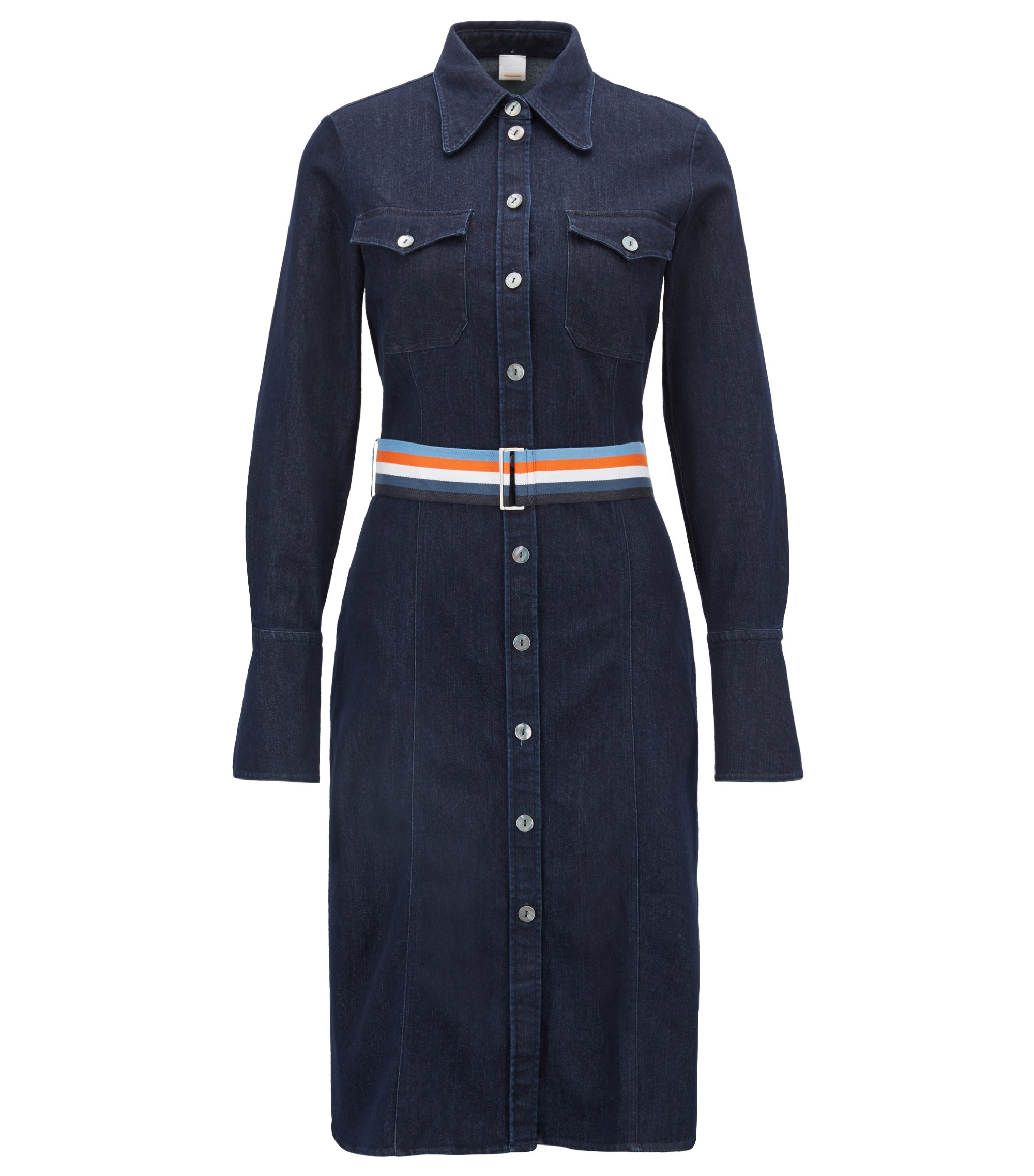 Stretch-denim dress with bell cuffs and ribbon belt, Dark Blue