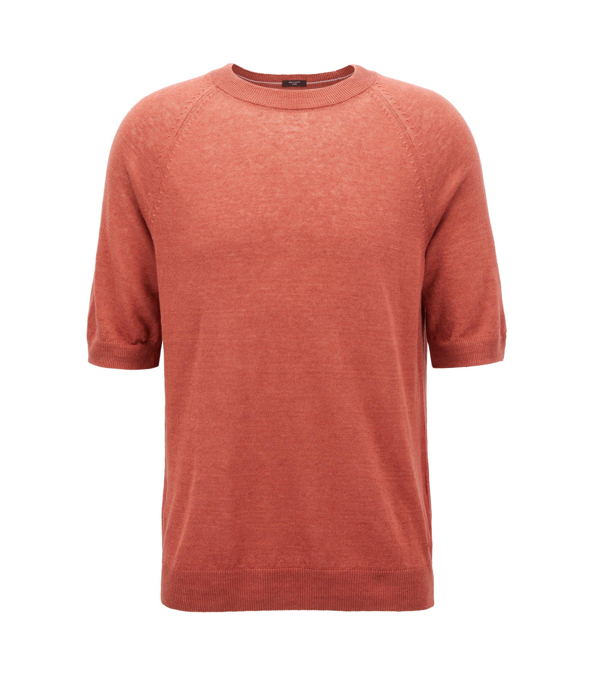 Jersey de estilo camiseta en punto de lino, Rojo claro