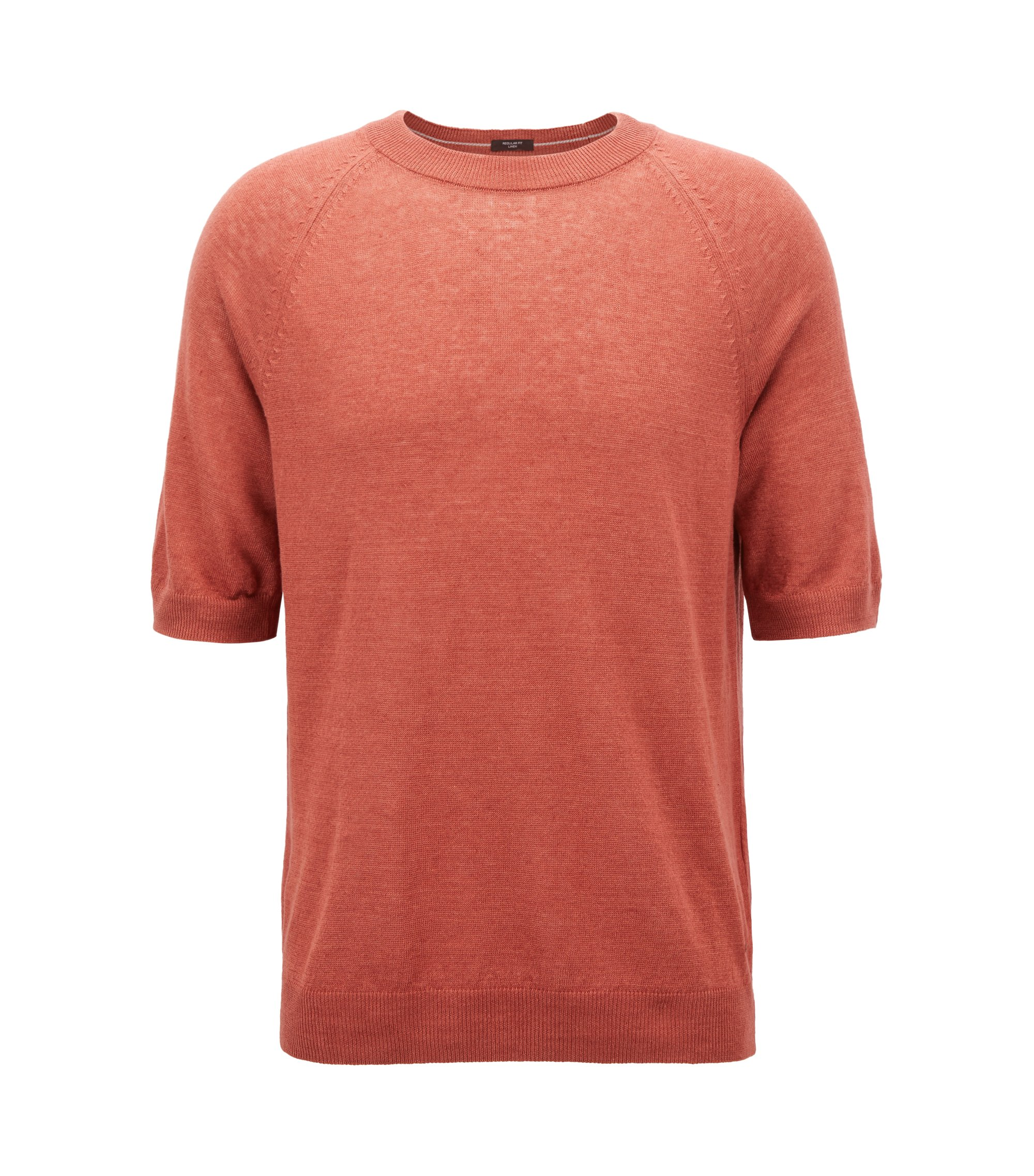 Pull t-shirt en jersey de lin, Rouge clair