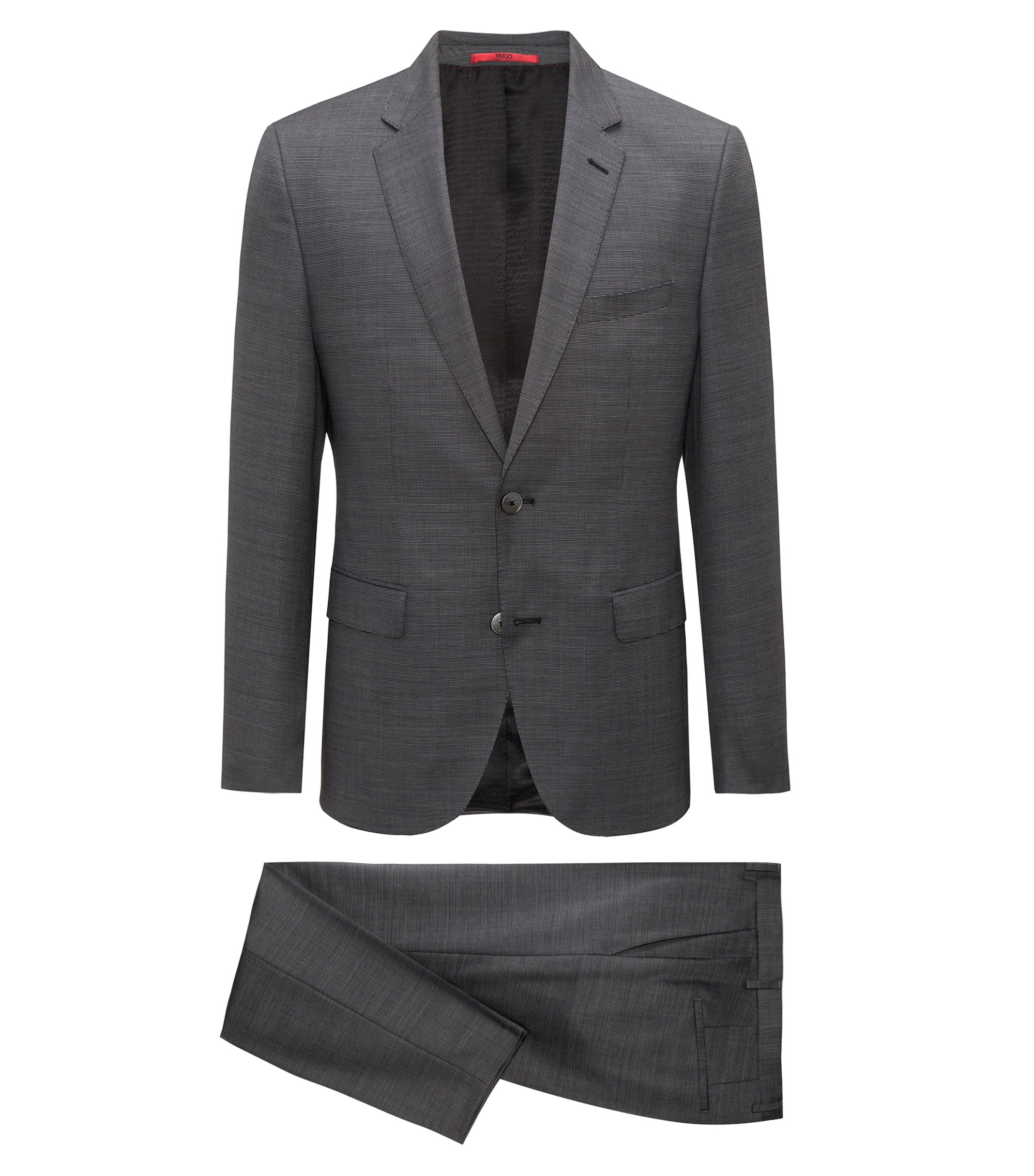 Regular-fit suit in structured virgin wool, Grey