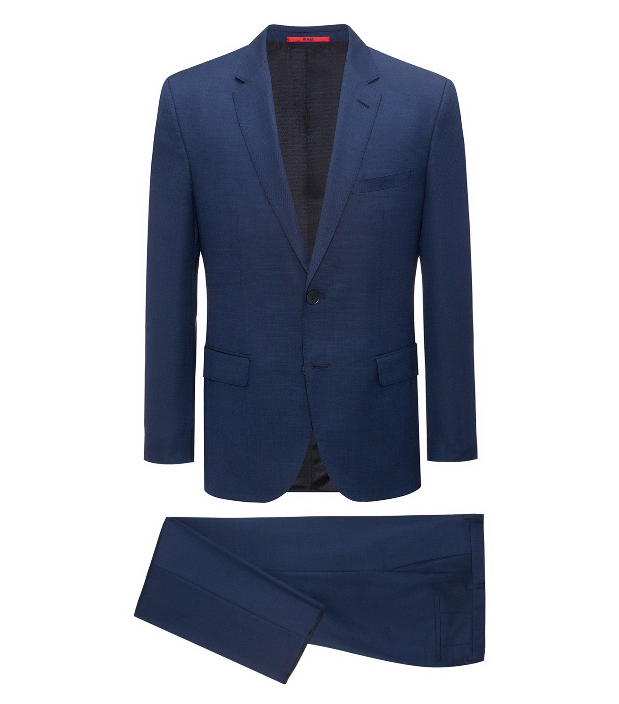 Regular-fit kostuum van gestructureerde scheerwol, Donkerblauw