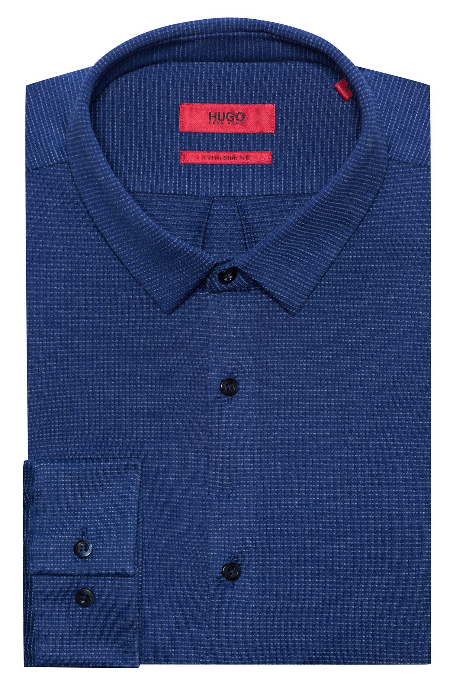 Chemise Extra Slim Fit en jersey, à col Kent, Bleu foncé
