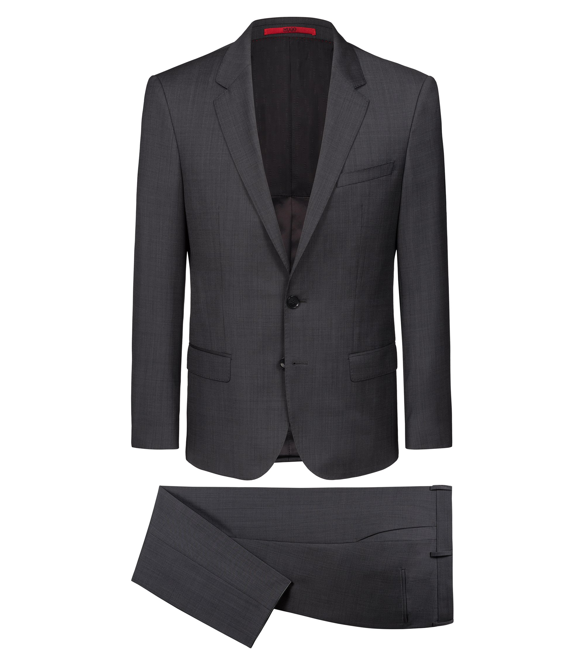 Slim-fit suit in virgin wool with two-tone micro pattern, Anthracite