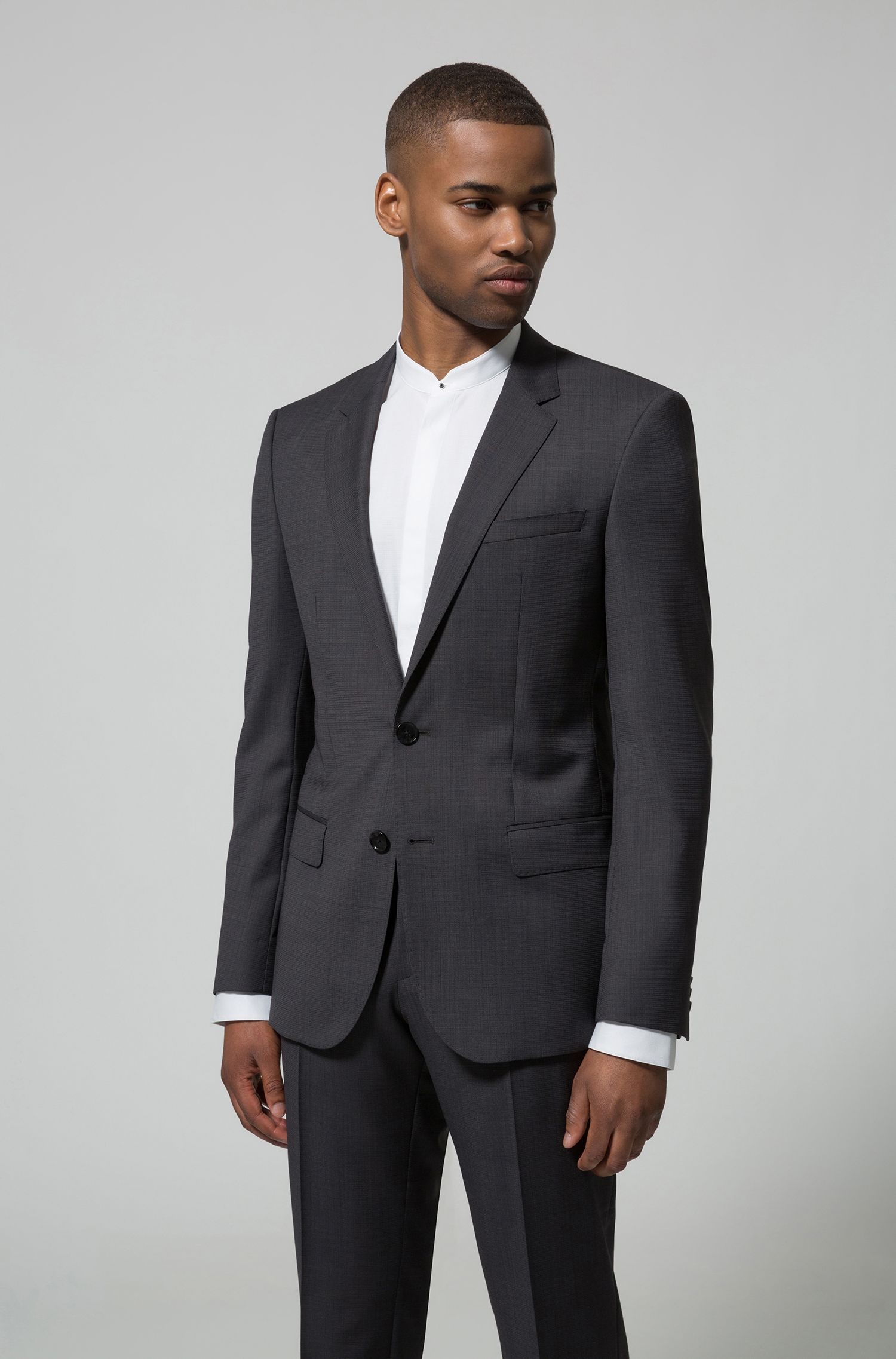 Slim-fit suit in virgin wool with two-tone micro pattern