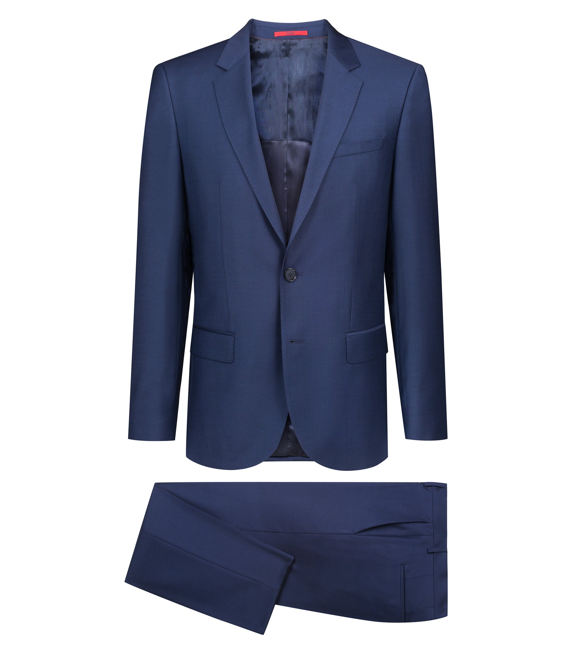 Slim-fit suit in virgin wool with two-tone micro pattern, Dark Blue