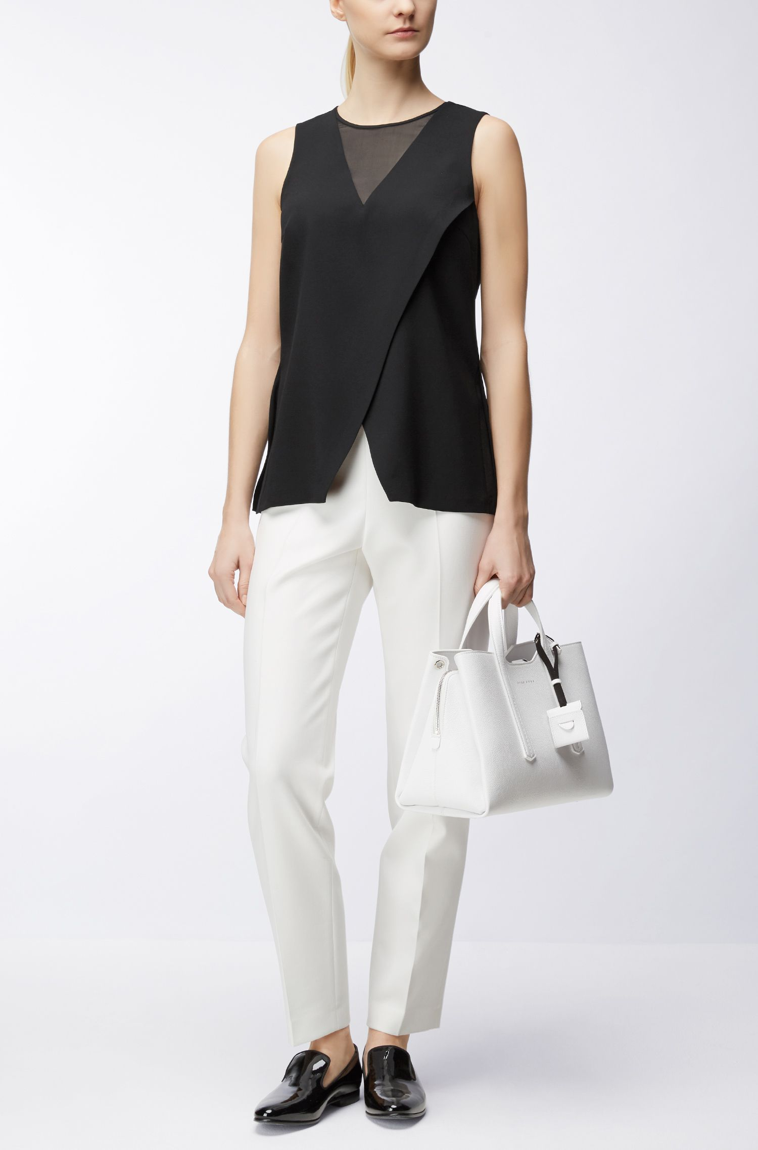 Sleeveless crepe top with layered detail