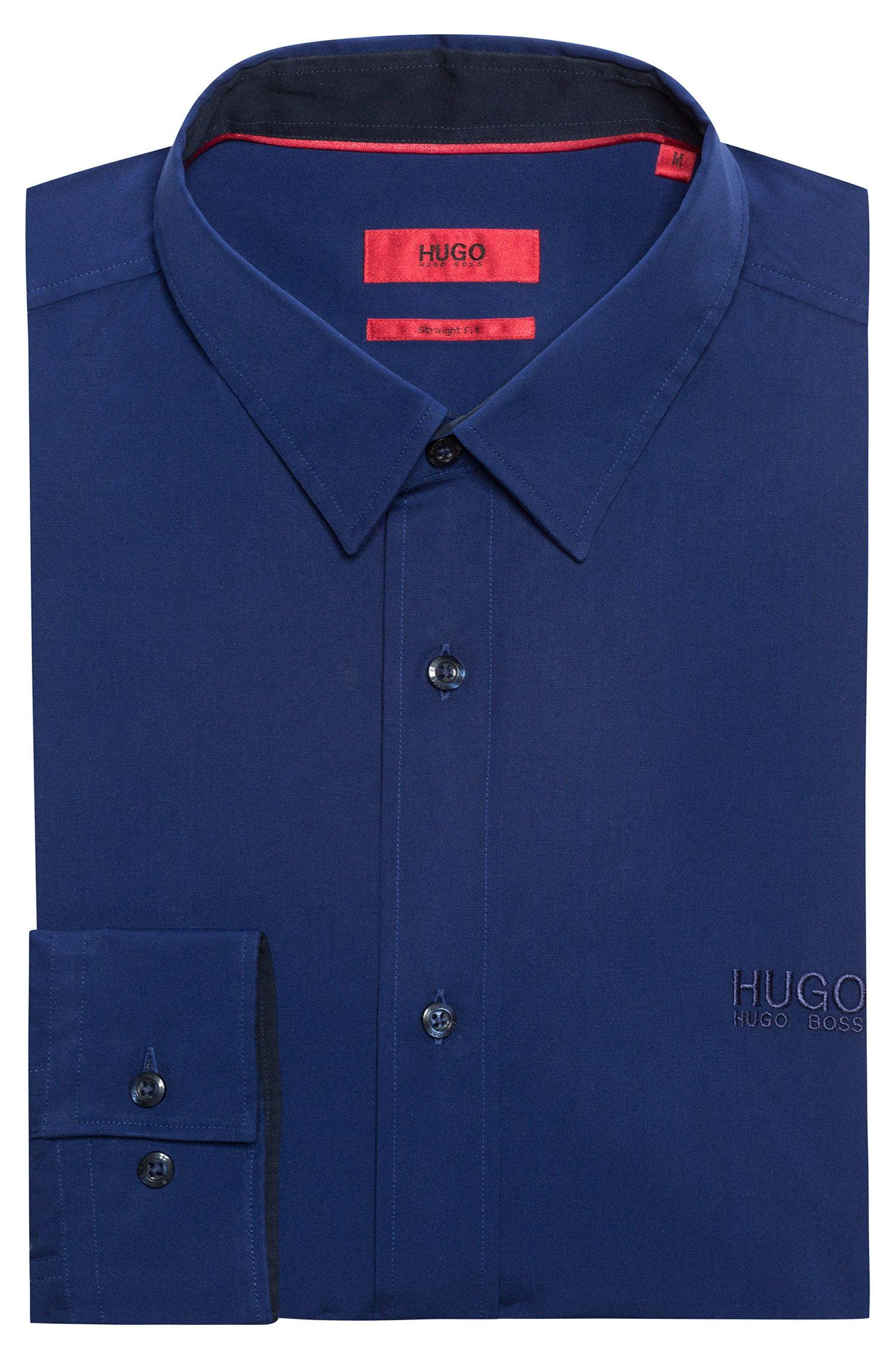 Relaxed-fit shirt in cotton poplin with logo embroidery, Dark Blue