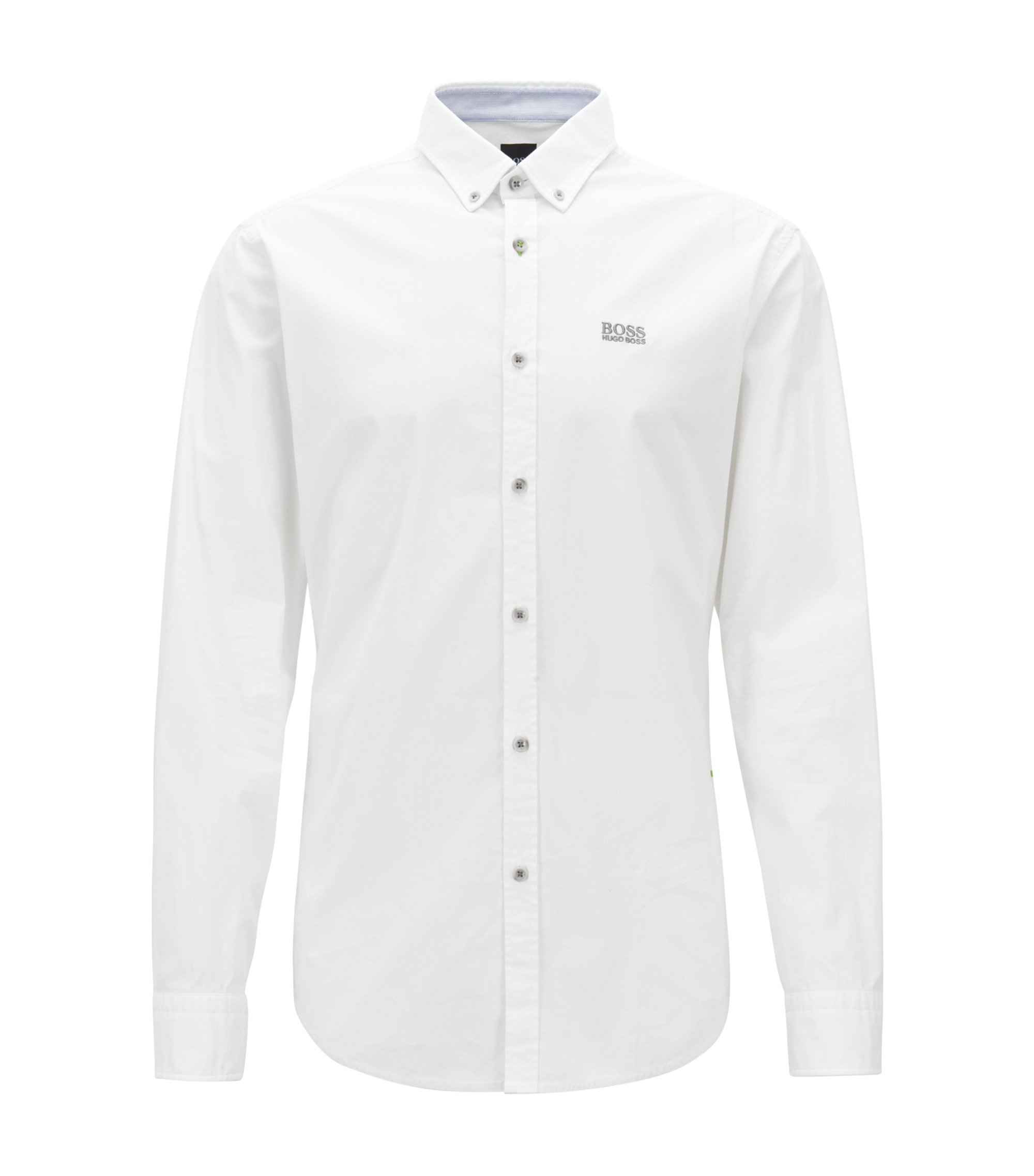 Regular-fit shirt in stretch cotton with button-down collar, White