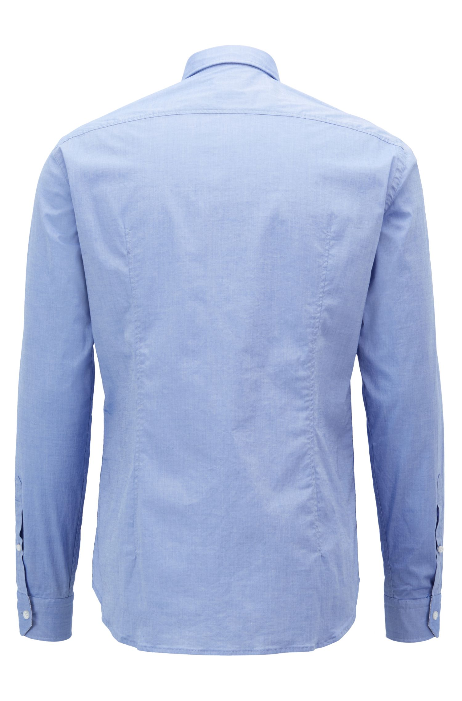 Camisa regular fit en algodón elástico con cuello abotonado, Celeste