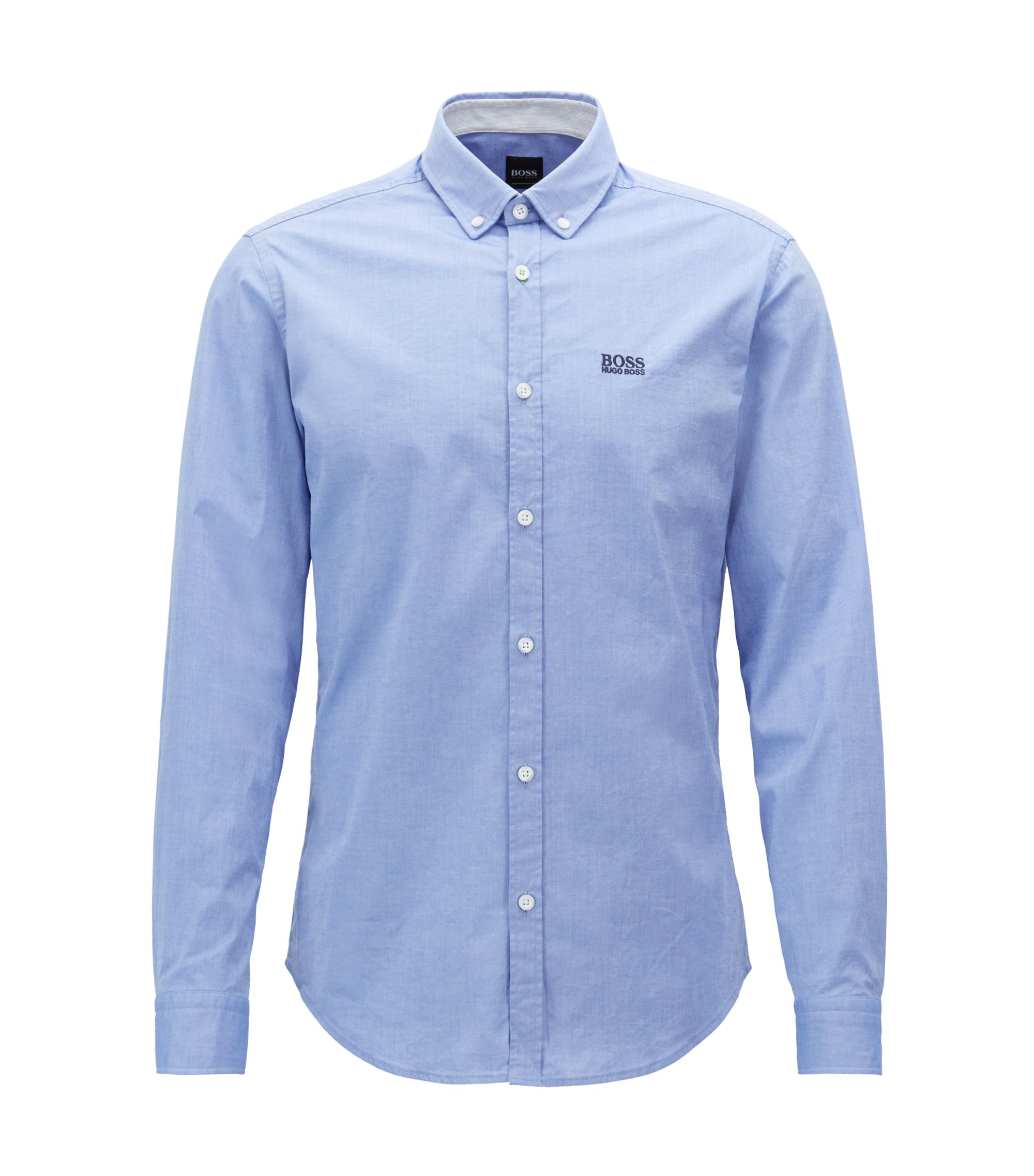 Camicia regular fit in cotone elasticizzato con colletto button-down, Celeste