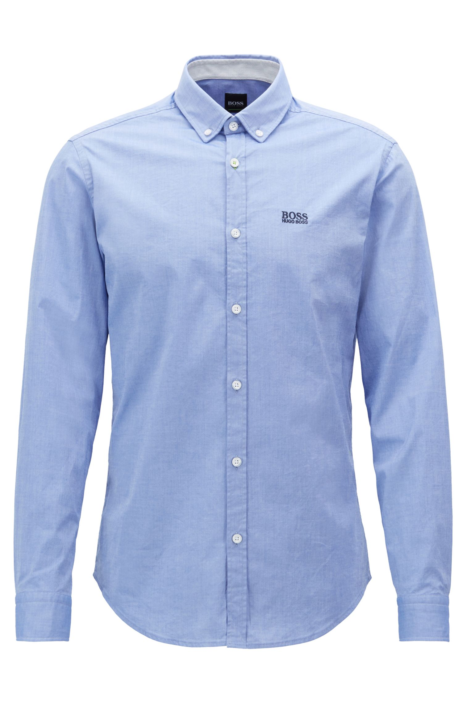 Regular-fit shirt in stretch cotton with button-down collar, Light Blue
