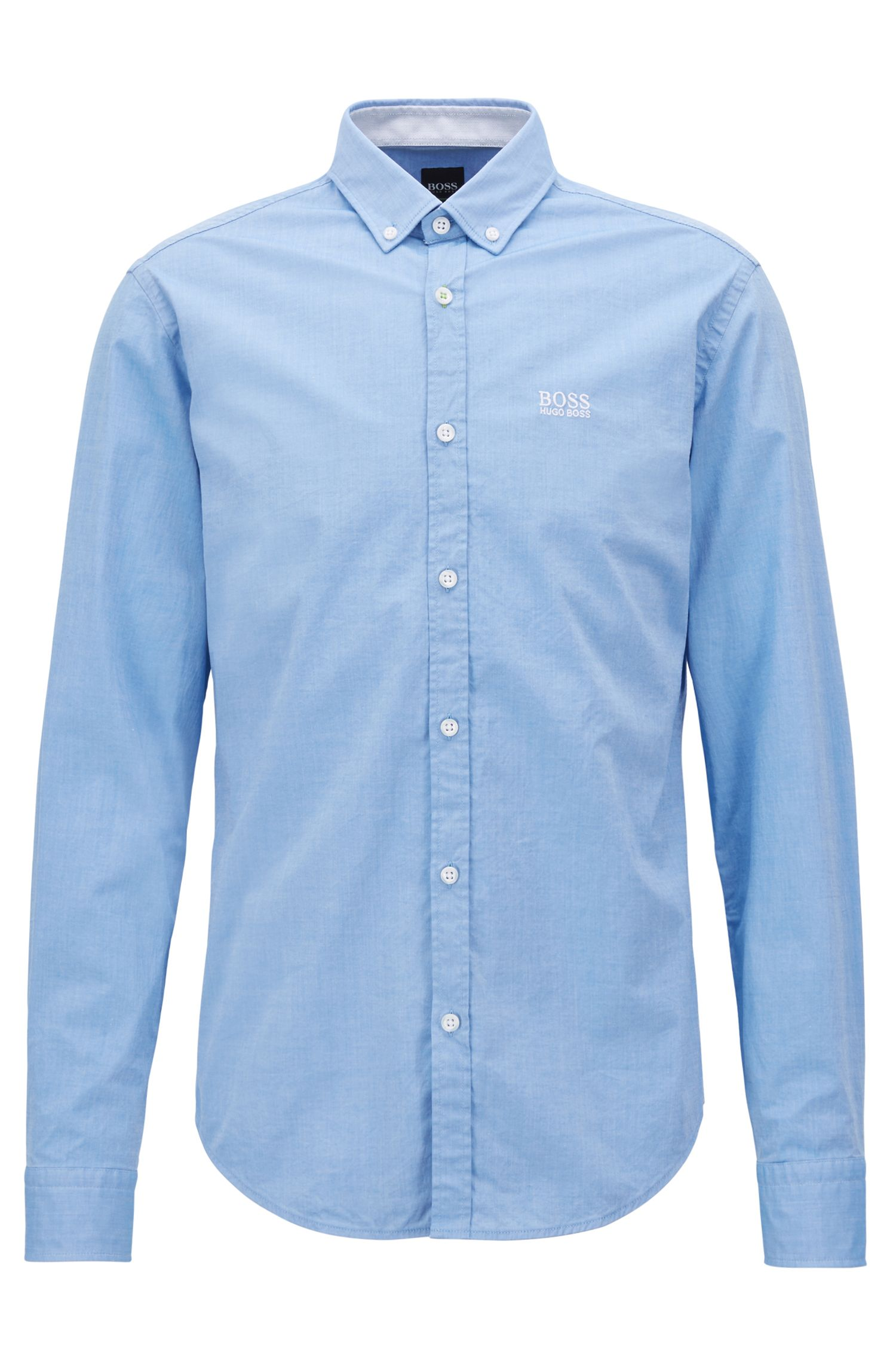 Regular-Fit Hemd aus Stretch-Baumwolle mit Button-Down-Kragen, Blau