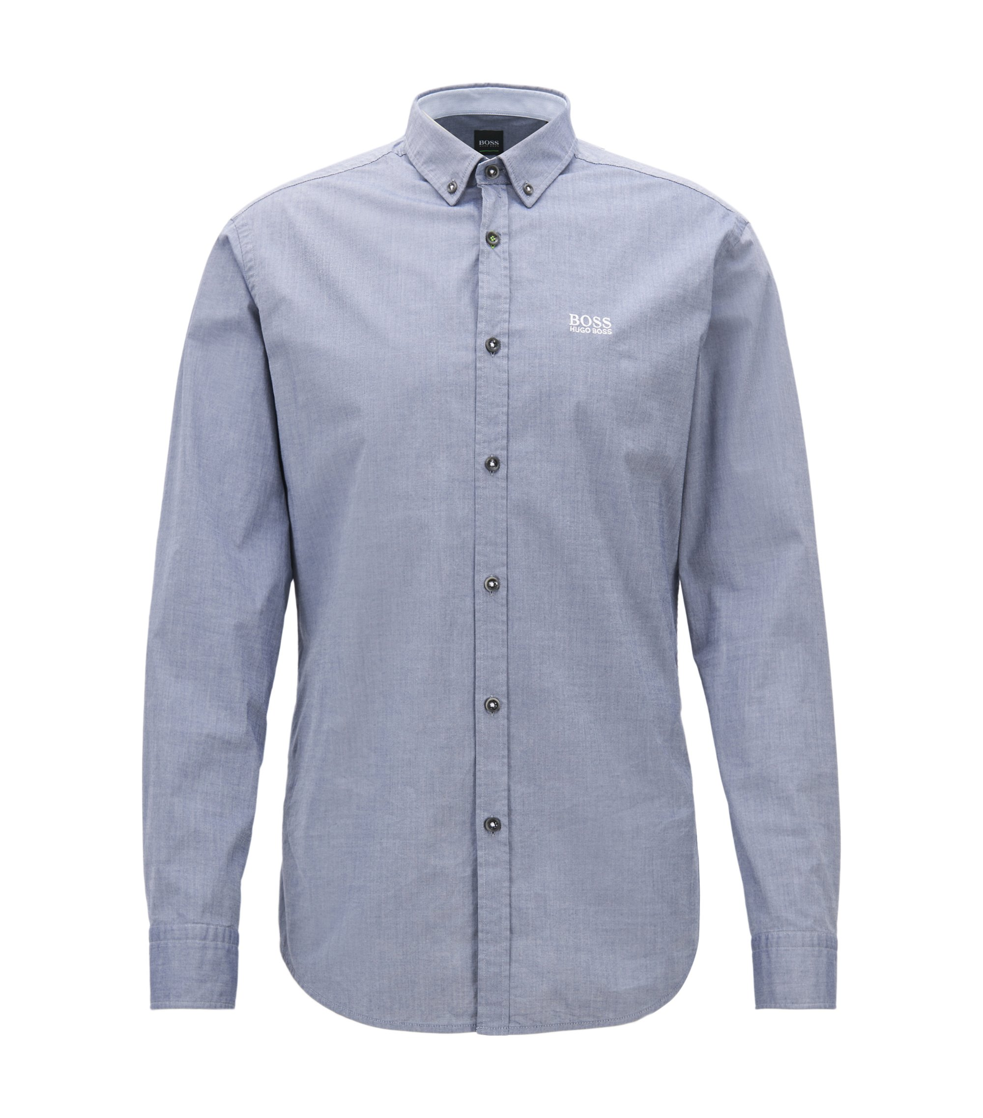 Camicia regular fit in cotone elasticizzato con colletto button-down, Blu