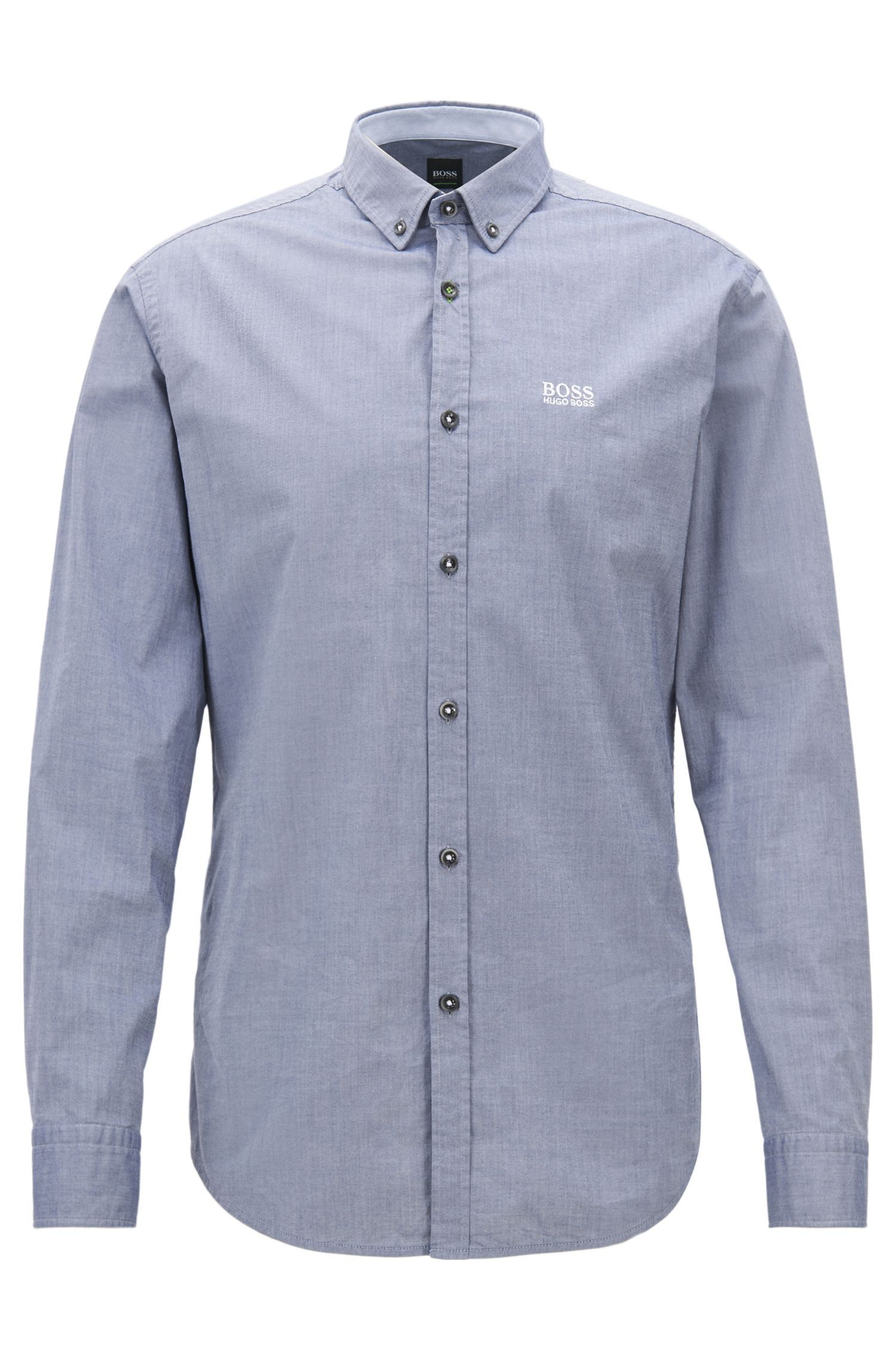 Camicia regular fit in cotone elasticizzato con colletto button-down