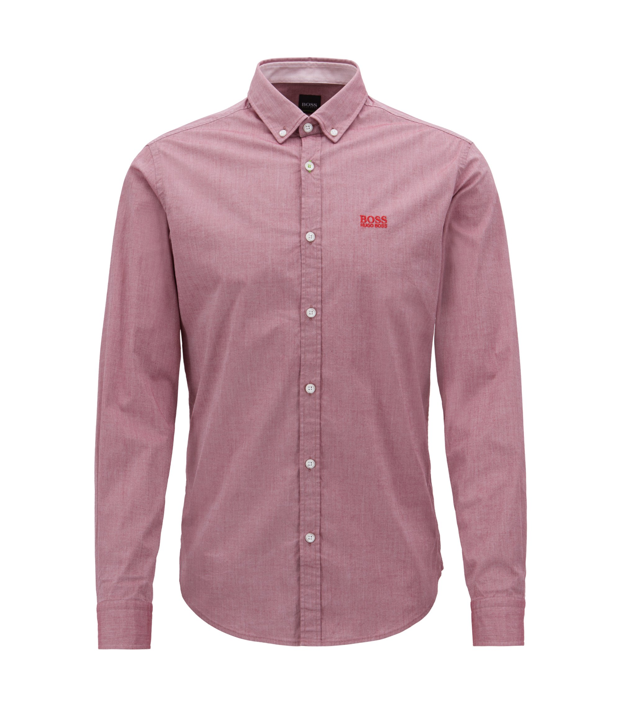 Camicia regular fit in cotone elasticizzato con colletto button-down, Rosso scuro