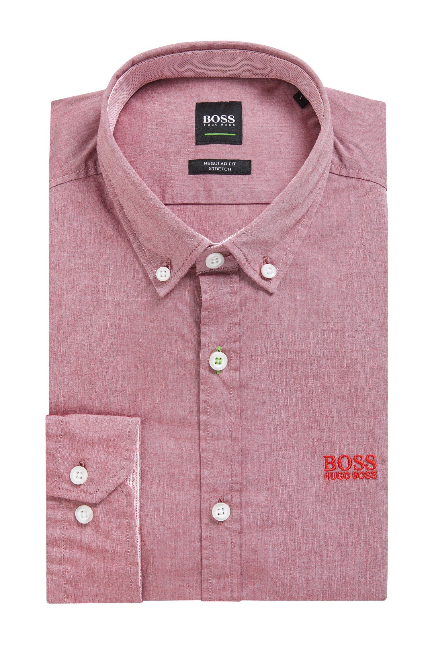 Regular-fit shirt in stretch cotton with button-down collar