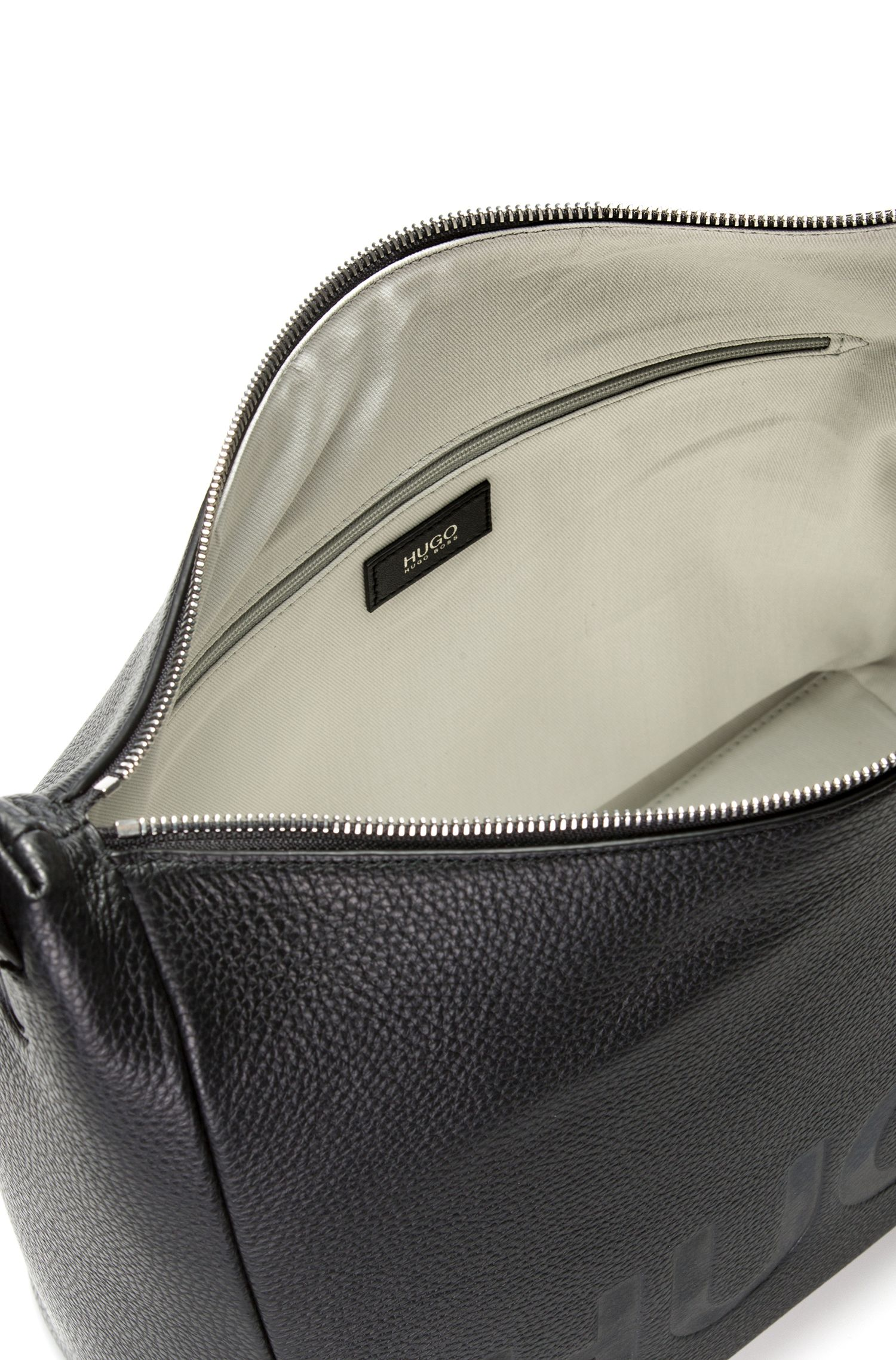 Leather hobo bag with embossed logo