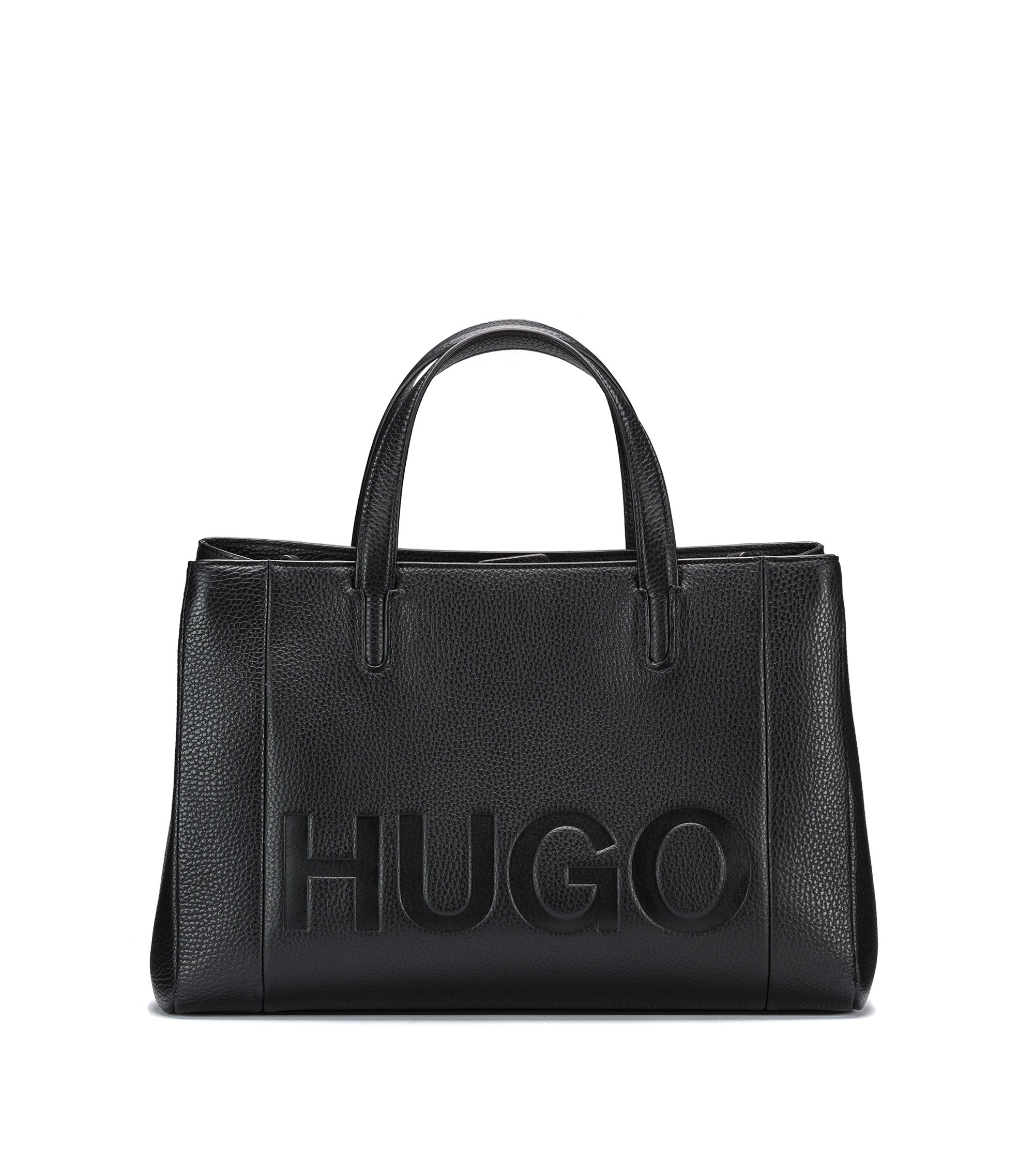 Leather tote bag with embossed logo, Schwarz