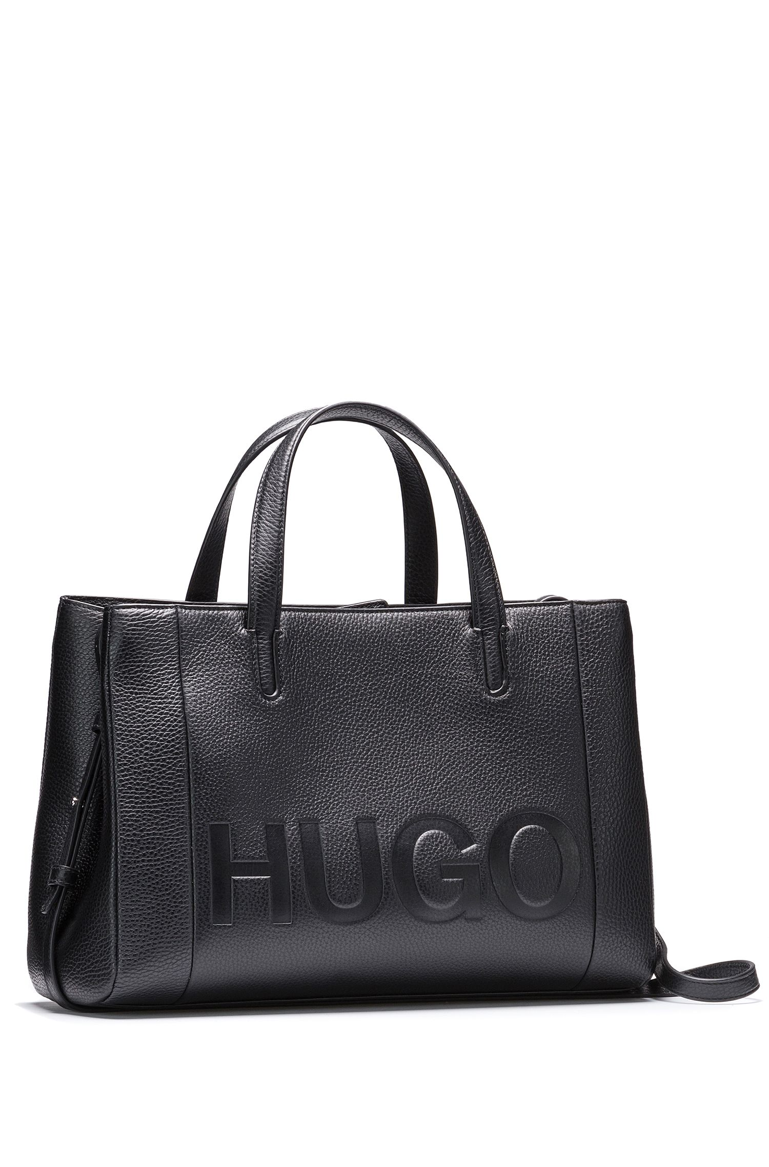 Leather tote bag with embossed logo YYTBjRCCv0