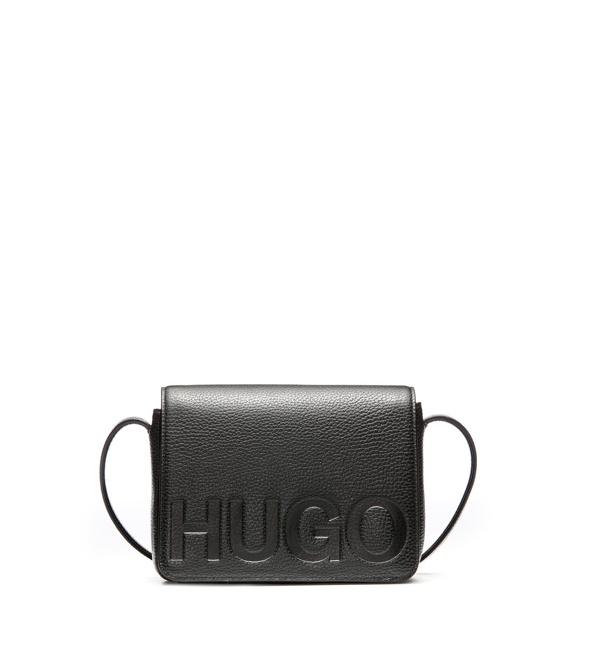 Leather cross-body bag with embossed logo, Black