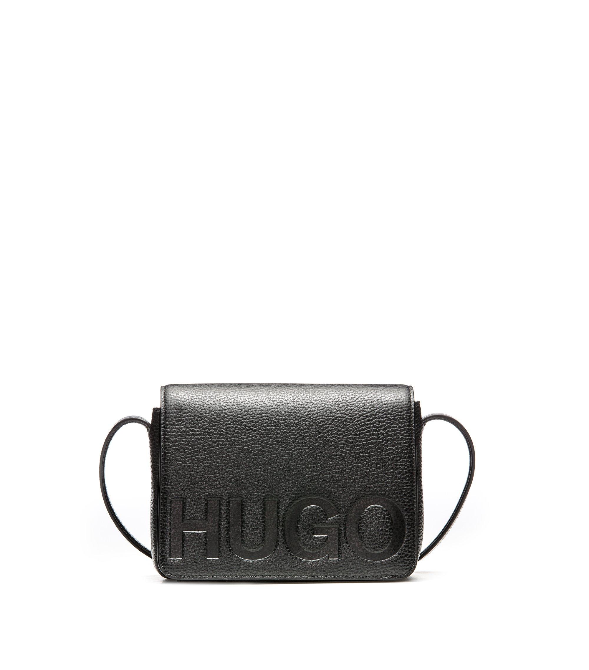 Umhängetasche aus Leder mit Logo-Prägung, Schwarz