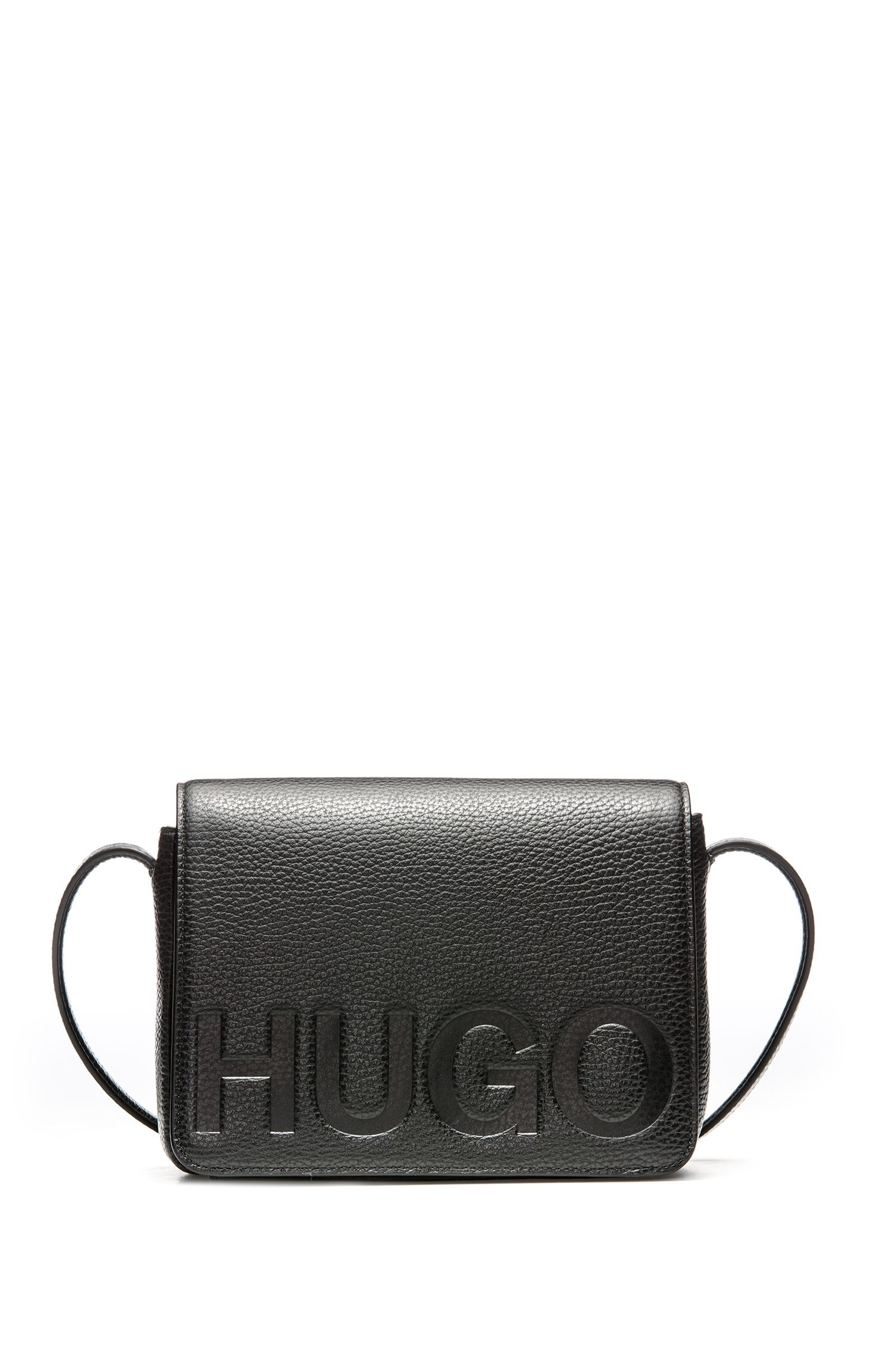 Leather cross-body bag with embossed logo