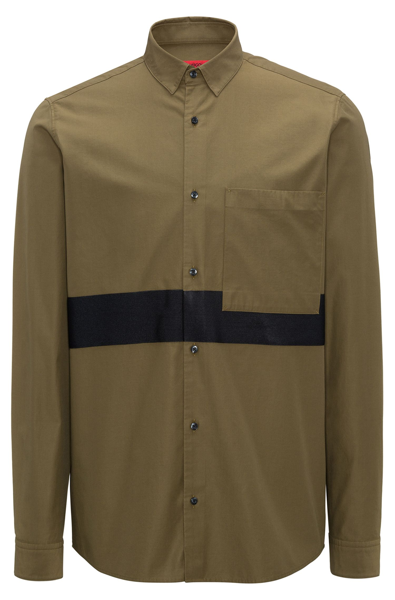 Relaxed-Fit Hemd aus Baumwoll-Twill mit Blockstreifen, Dunkelgrün