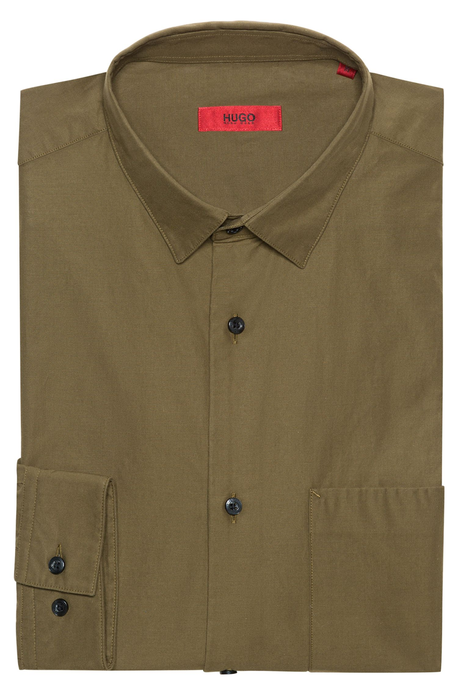 Relaxed-fit shirt in cotton twill with block stripes, Dark Green