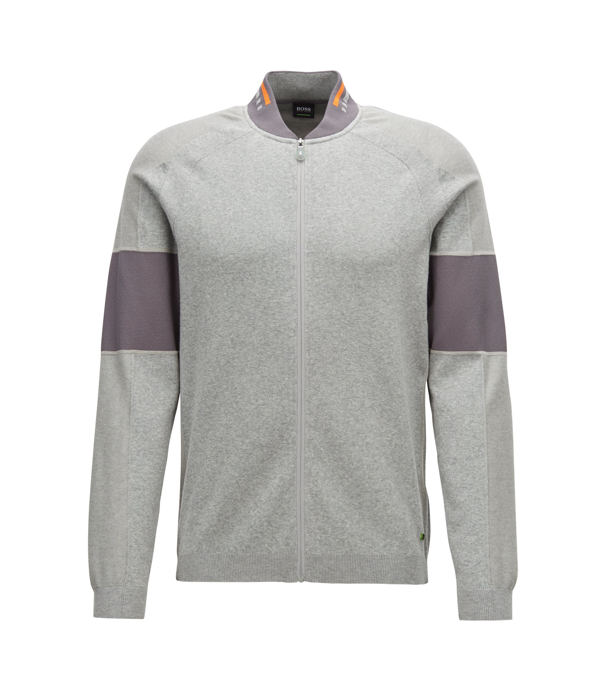 Colour-block sweater in a cotton blend with zip, Light Grey