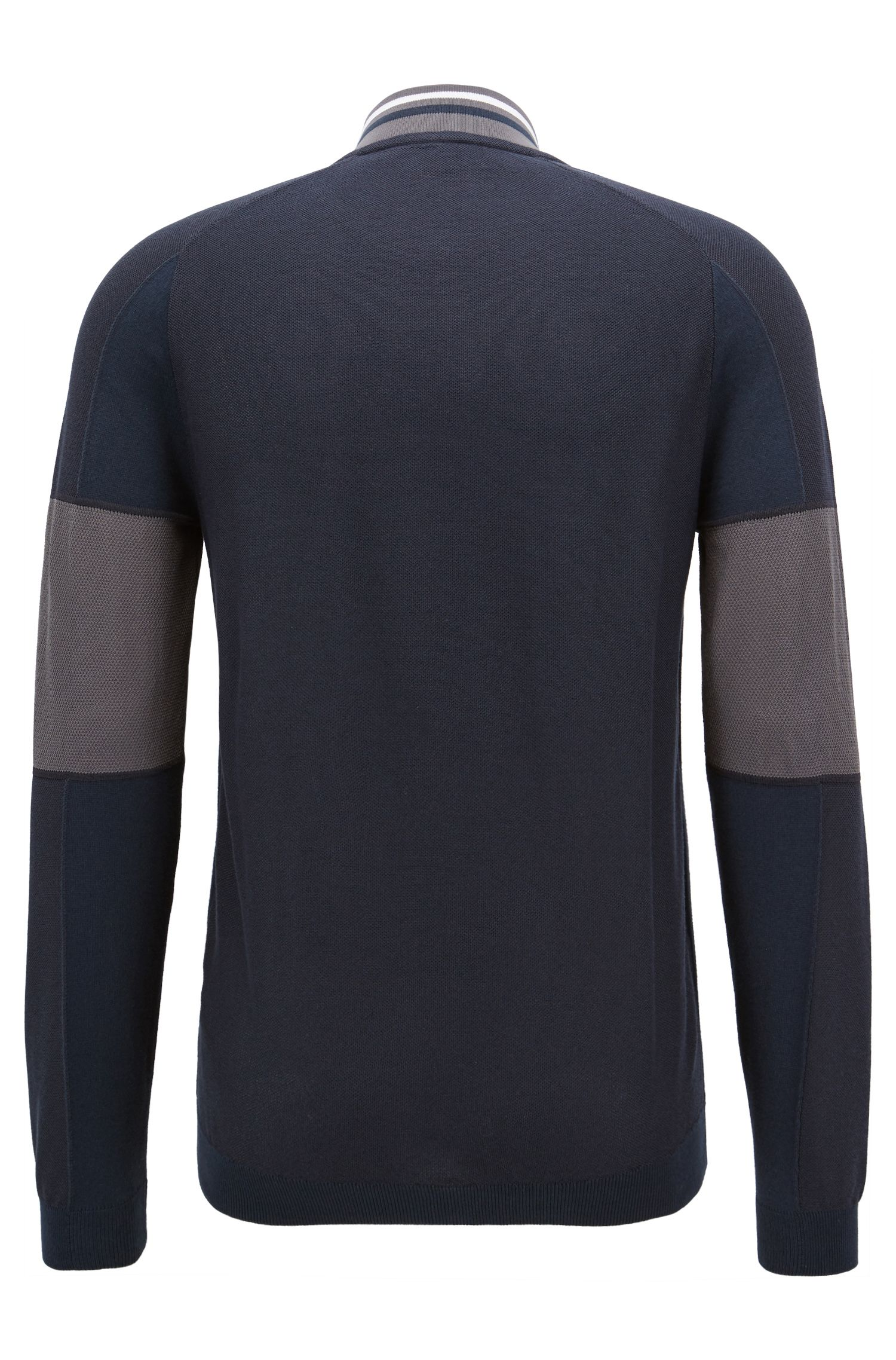 Colour-block sweater in a cotton blend with zip, Dark Blue