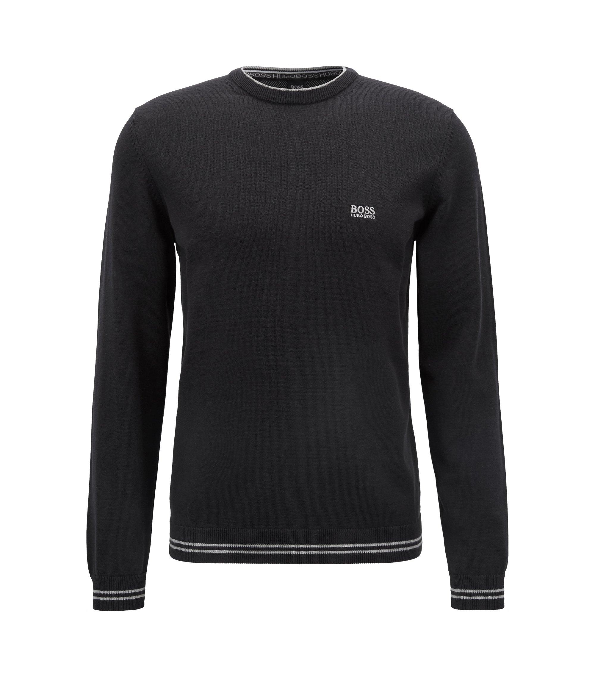 Pull en maille avec bordure contrastante et logo intarsia, Noir