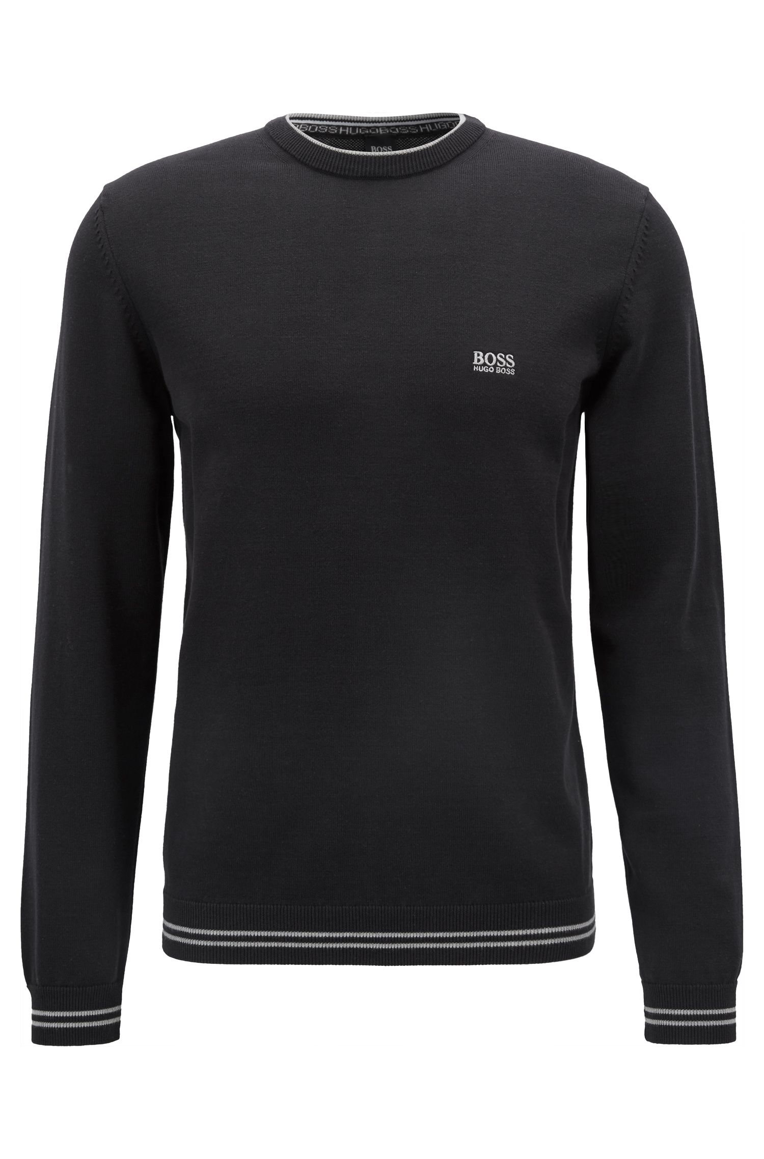 Strickpullover aus Baumwoll-Mix mit kontrastfarbener Einfassung und Logo-Intarsien, Schwarz