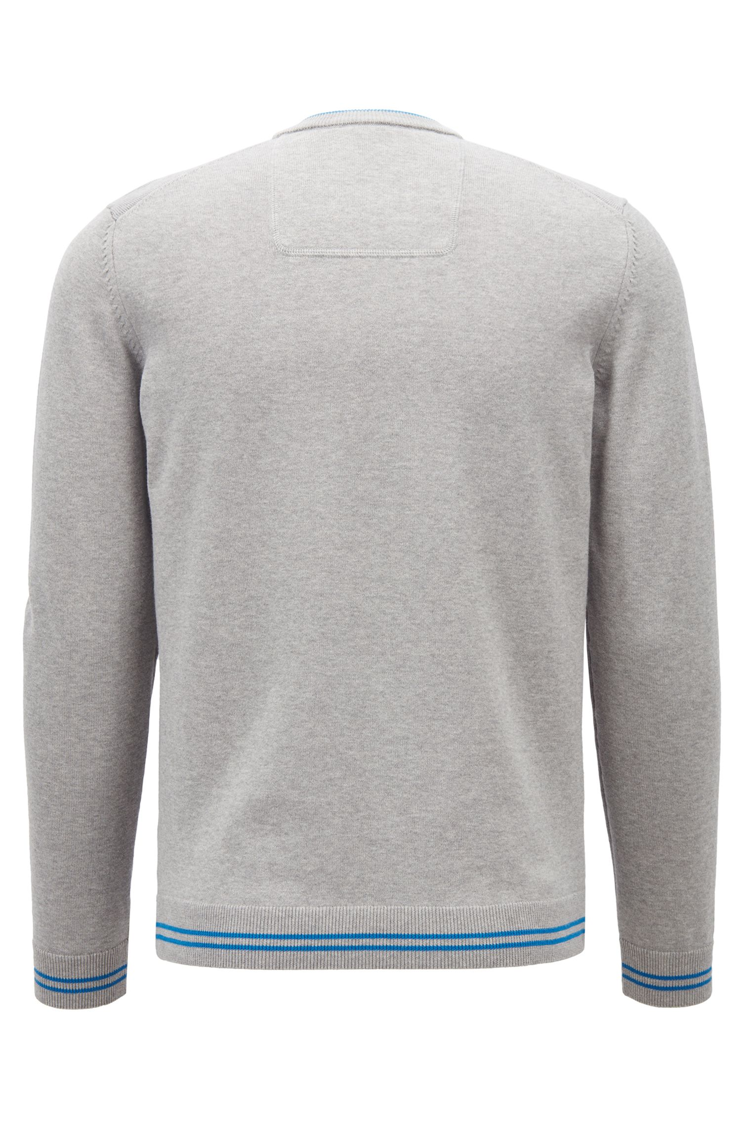 Knitted sweater with contrast tipping and logo intarsia, Light Grey