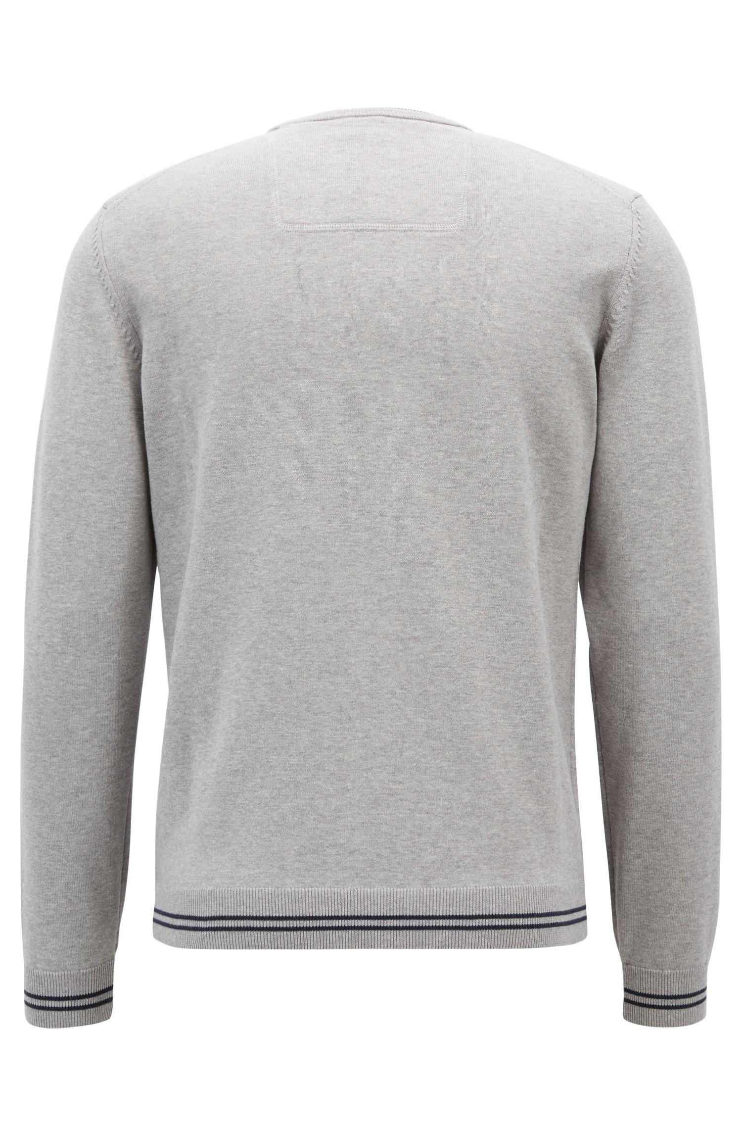 Gebreide trui met contrasterende rand en ingebreid logo, Lichtgrijs