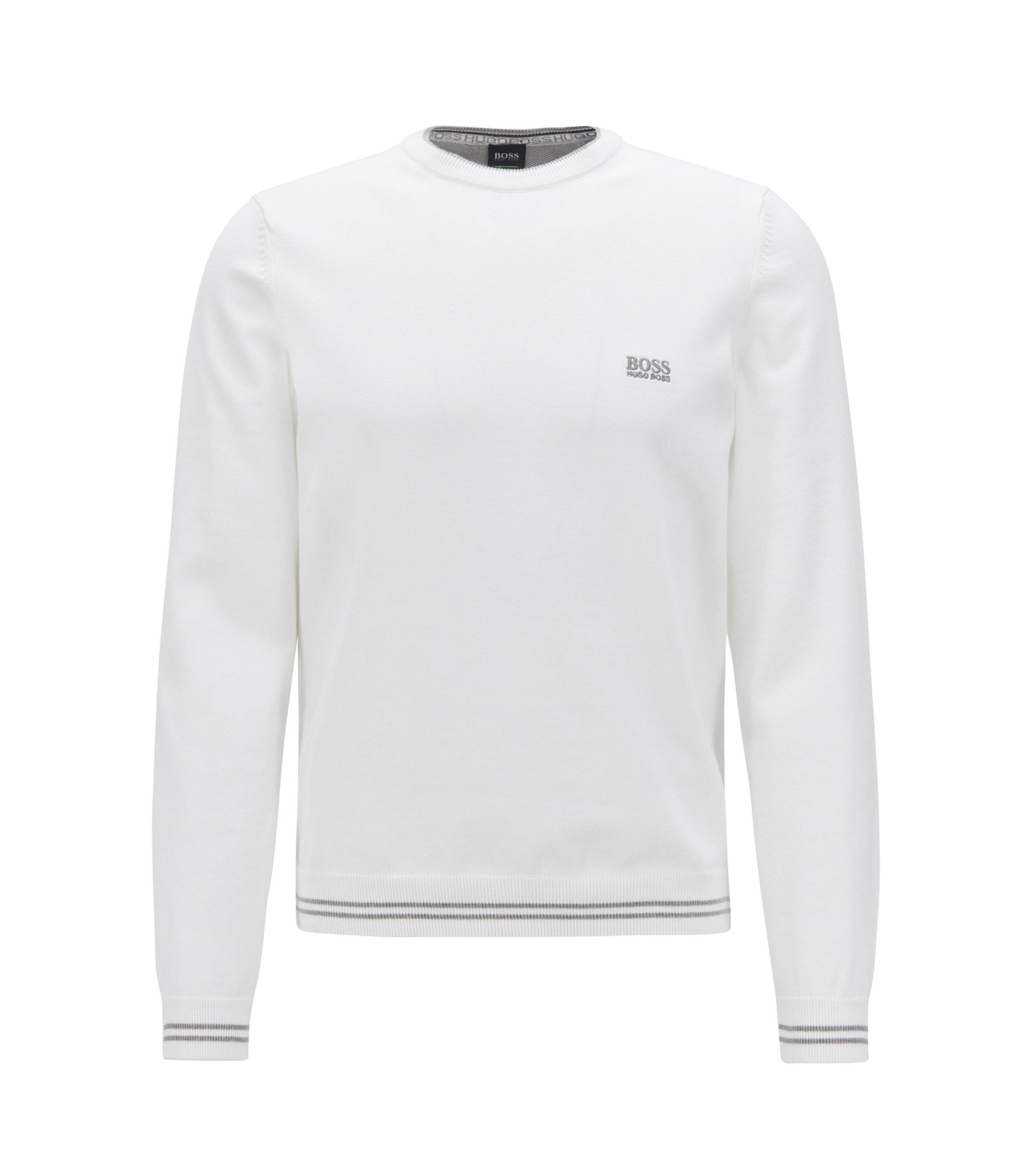 Strickpullover aus Baumwoll-Mix mit kontrastfarbener Einfassung und Logo-Intarsien, Weiß