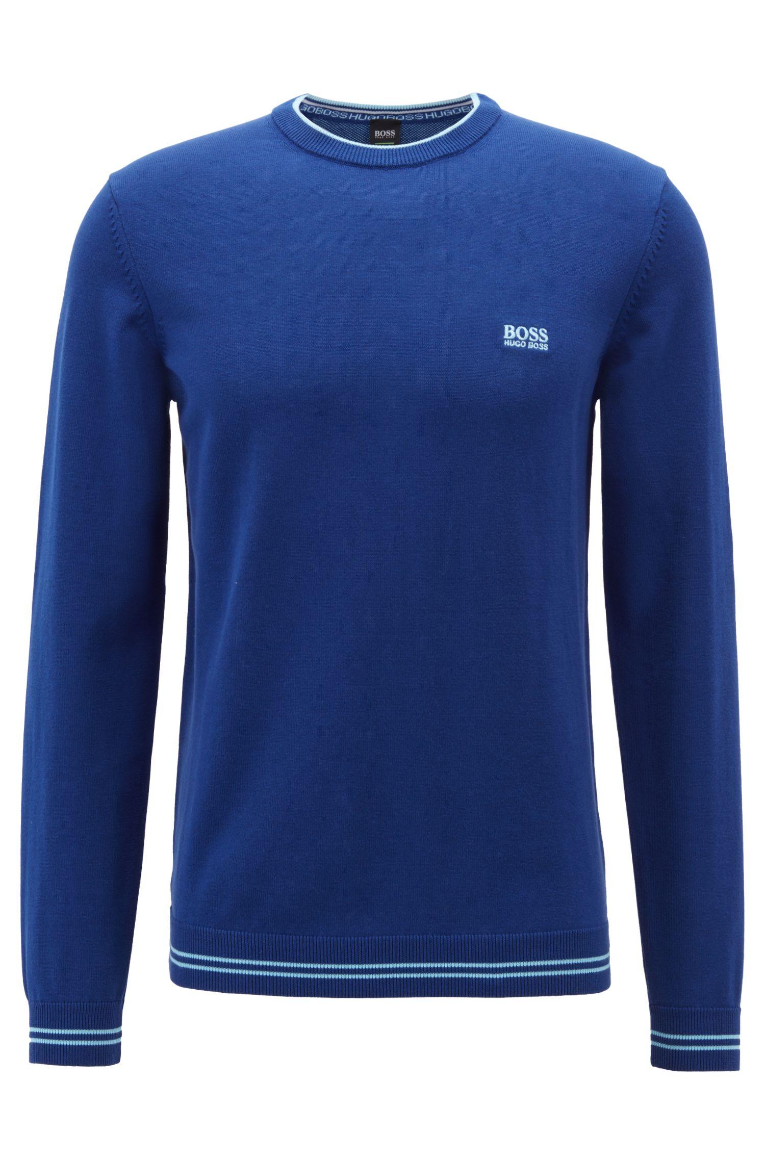 Strickpullover aus Baumwoll-Mix mit kontrastfarbener Einfassung und Logo-Intarsien, Blau