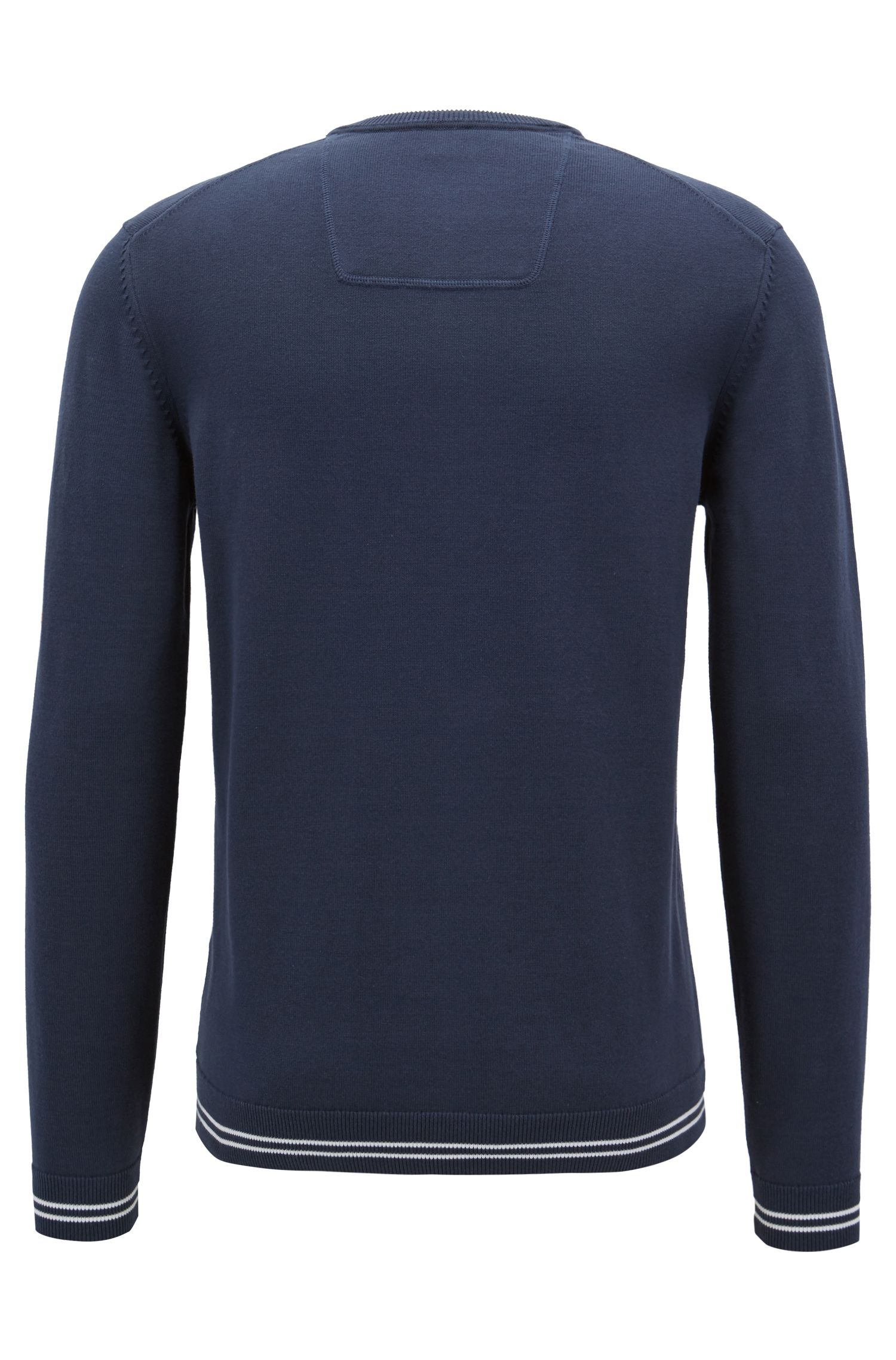 Hugo Boss - Knitted sweater with contrast tipping and logo intarsia - 3