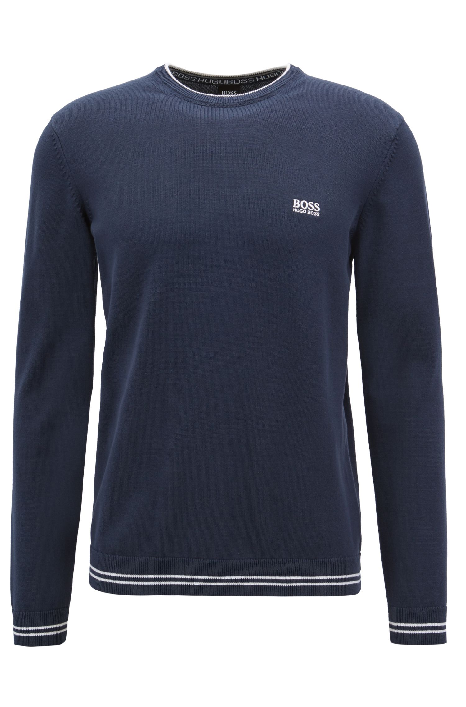 Knitted sweater with contrast tipping and logo intarsia