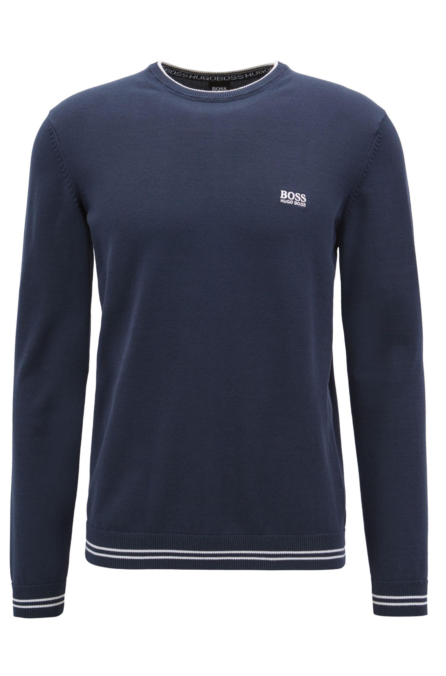 Pull en maille avec bordure contrastante et logo intarsia, Bleu foncé