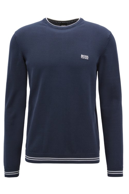 Hugo Boss - Knitted sweater with contrast tipping and logo intarsia - 1